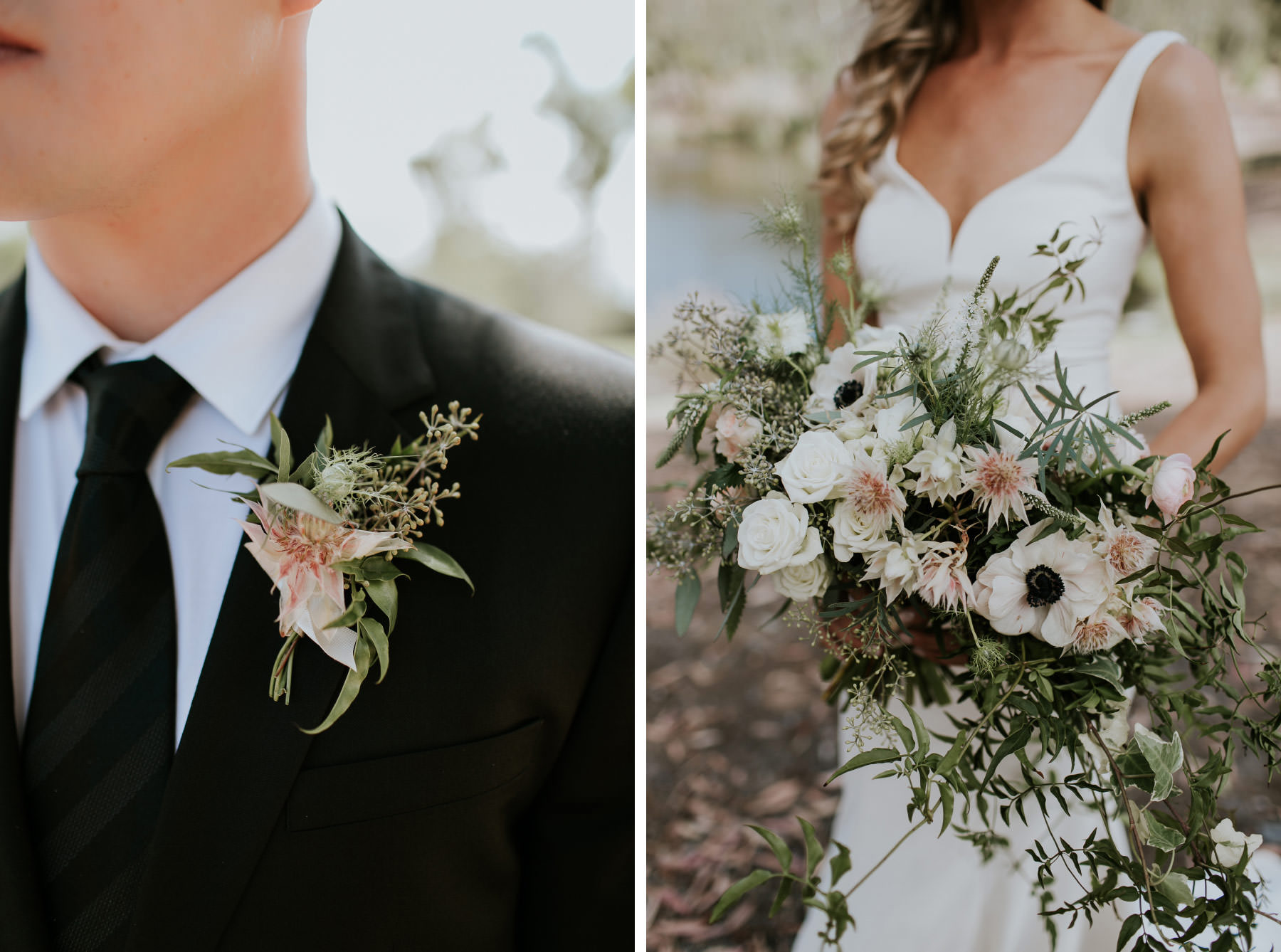 Cascading bouquet and boutonniere with white anemone flowers