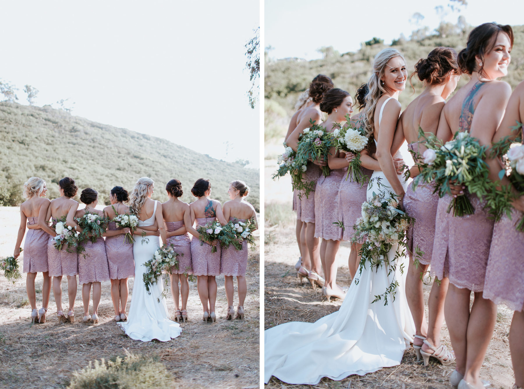 Modern bride poses with bridesmaids in metallic pink champagne dresses