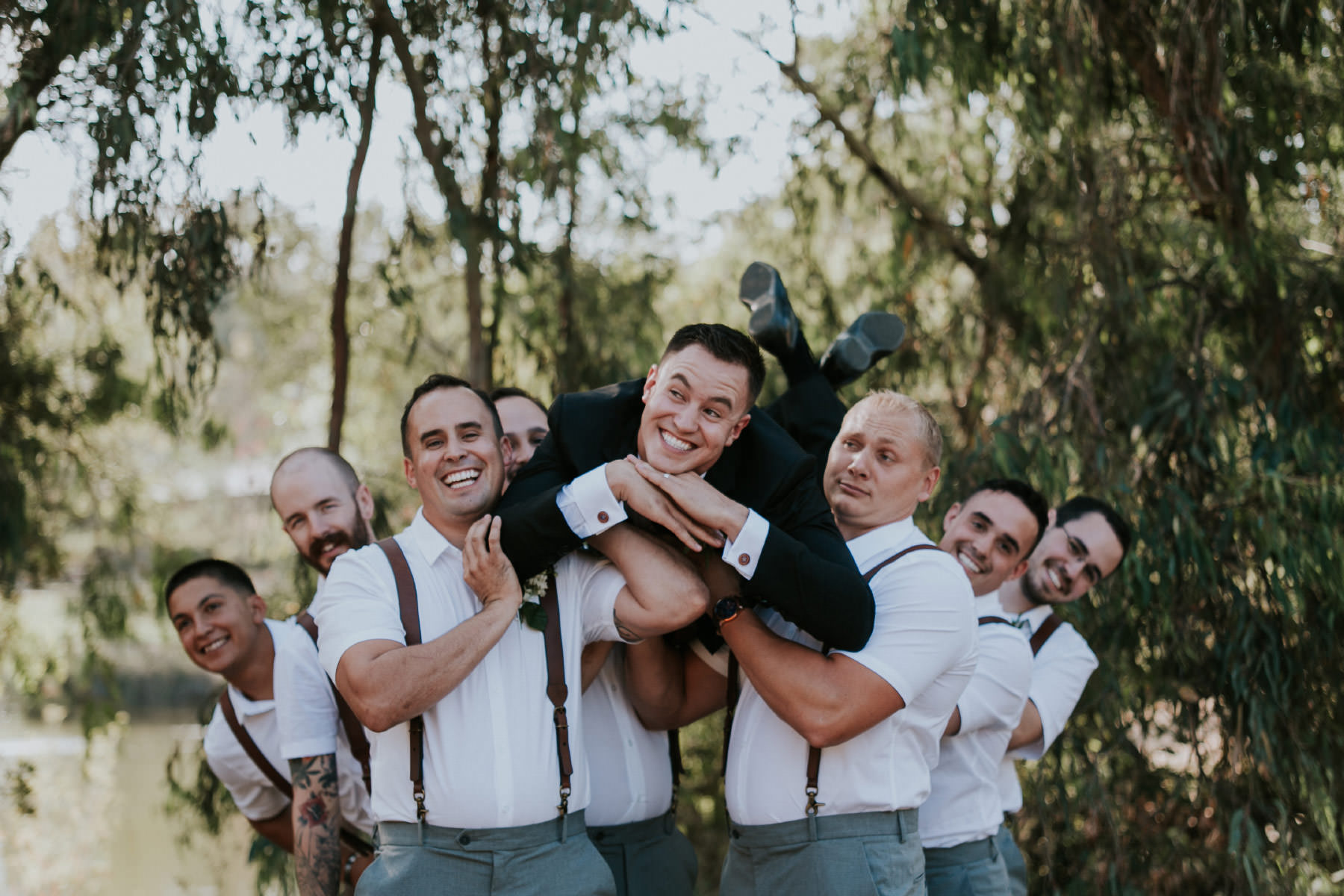 Silly groomsmen poses