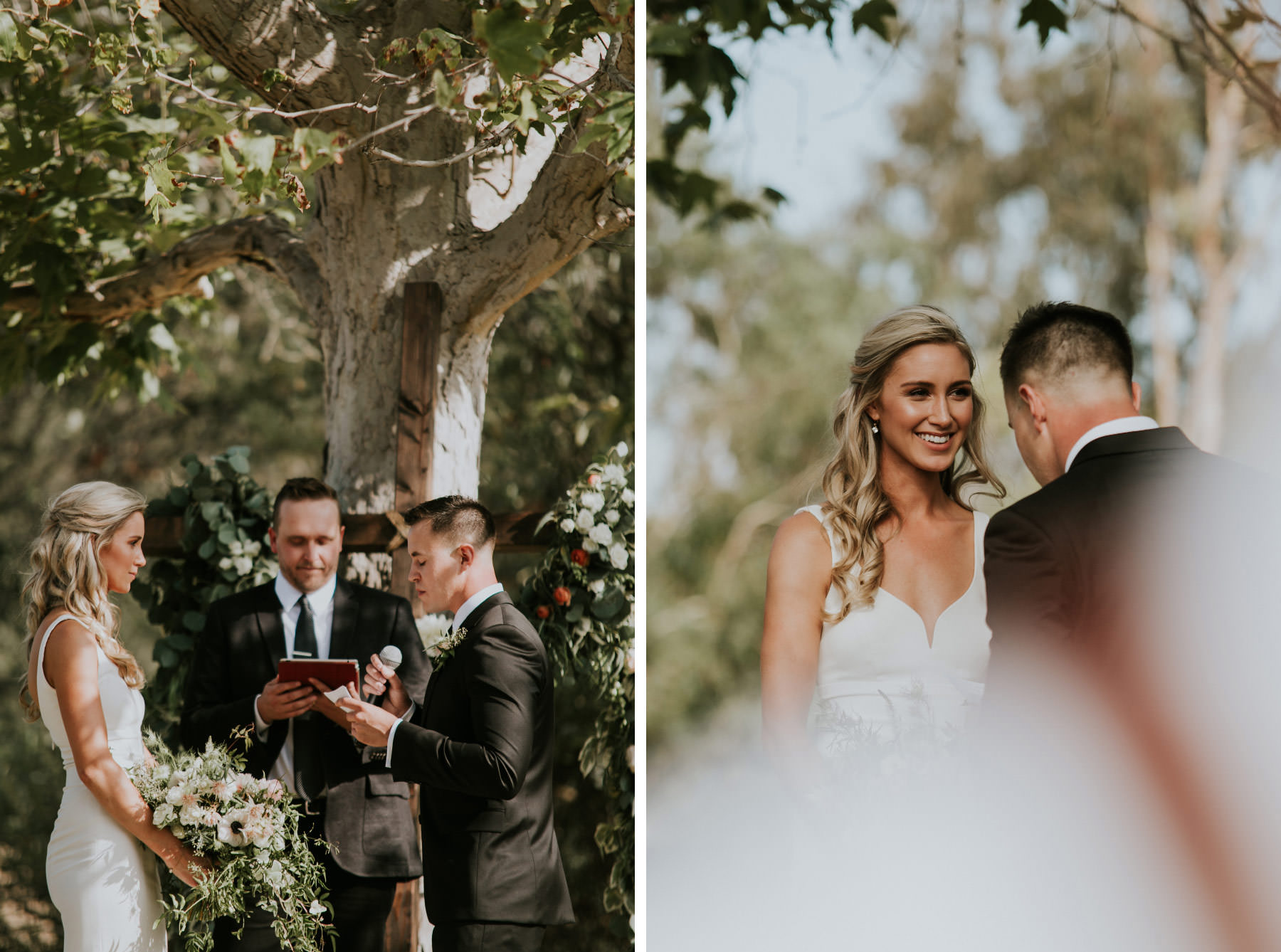 Bride and groom exchanging vows in outdoor ceremony in San Diego
