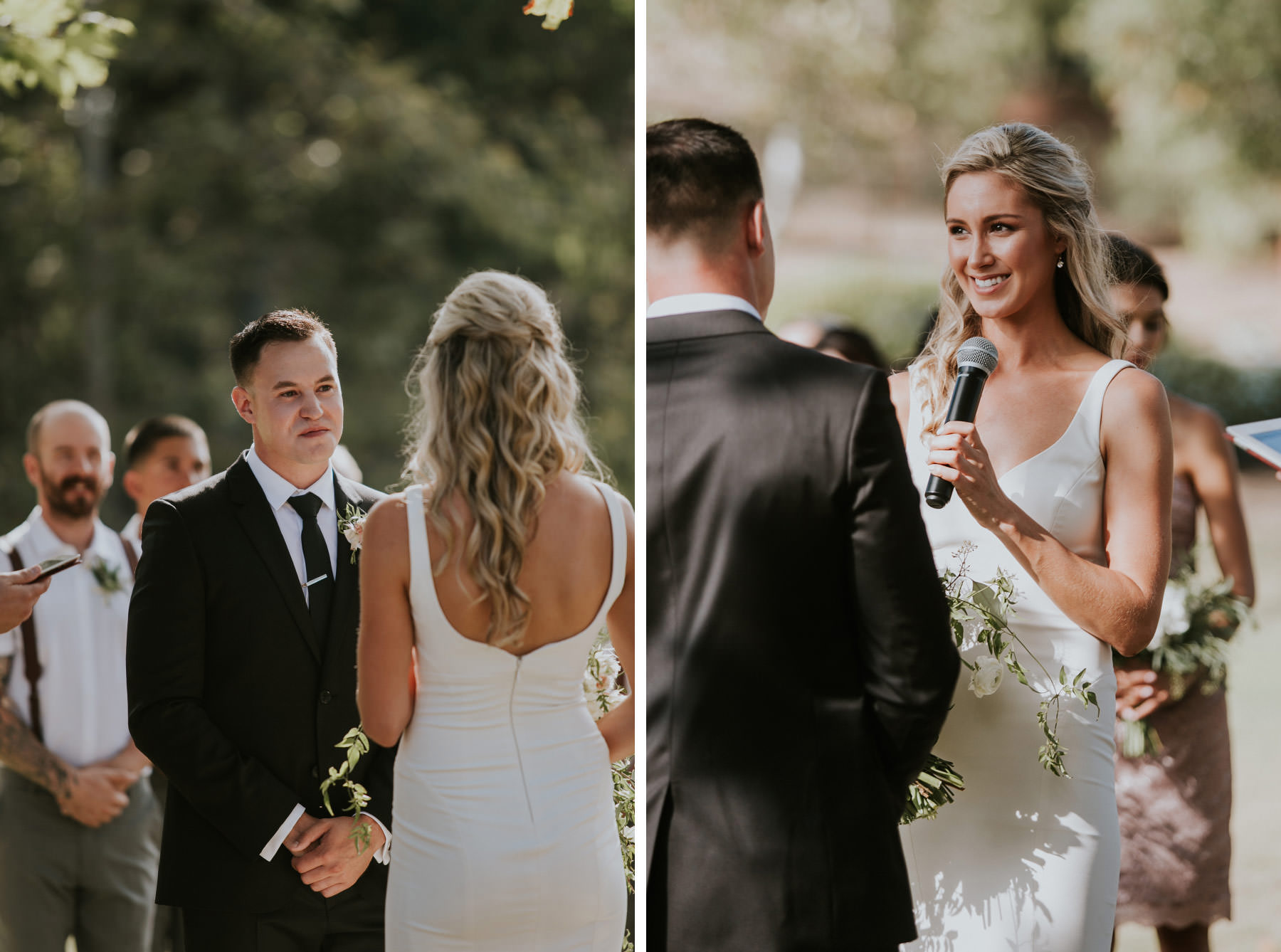 Bride and groom exchanging vows in outdoor ceremony