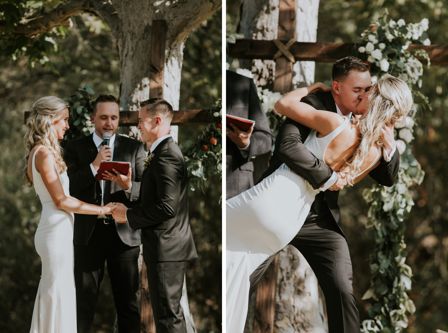 Groom dipping bride for first kiss