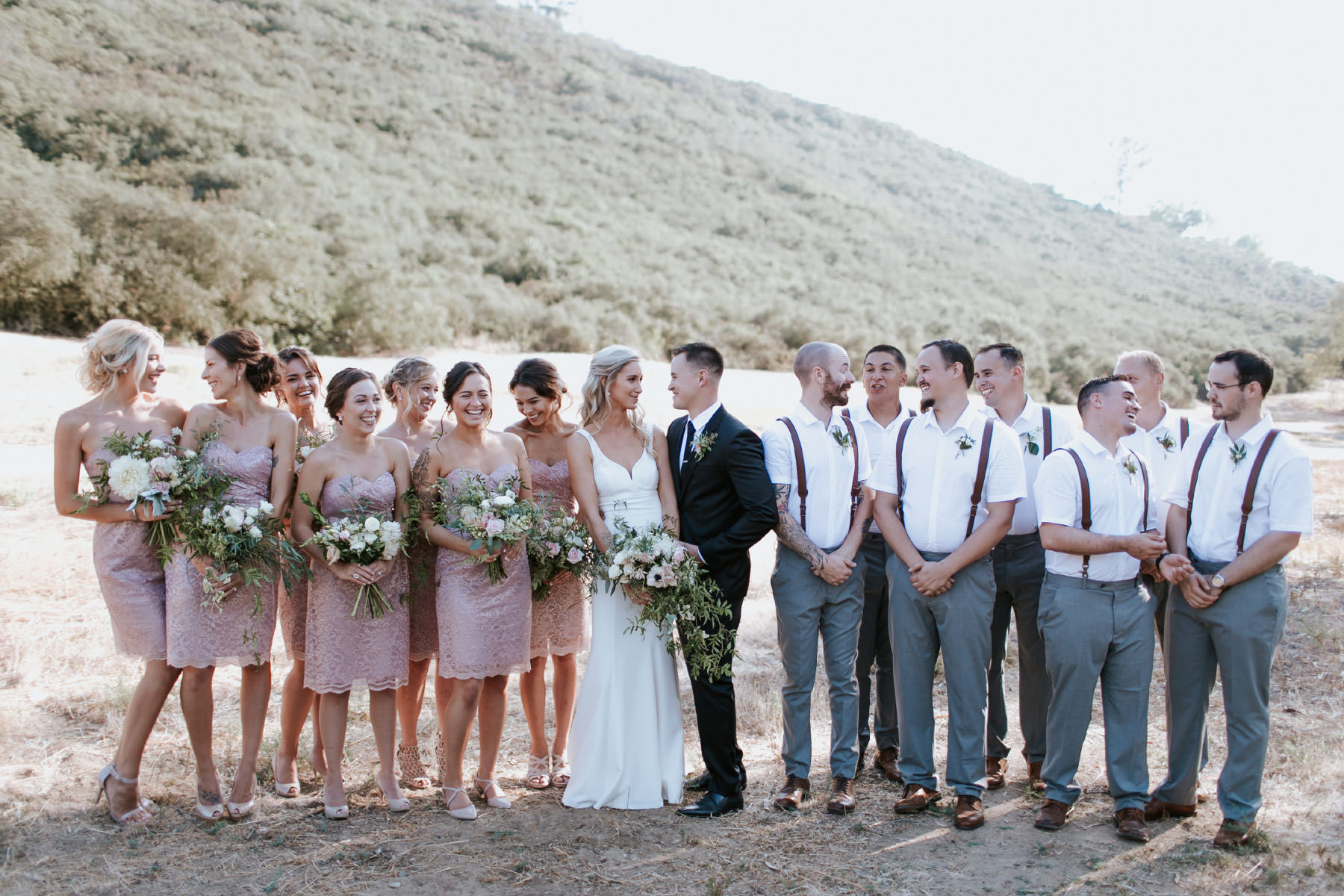 Bride and groom posed with entire bridal party