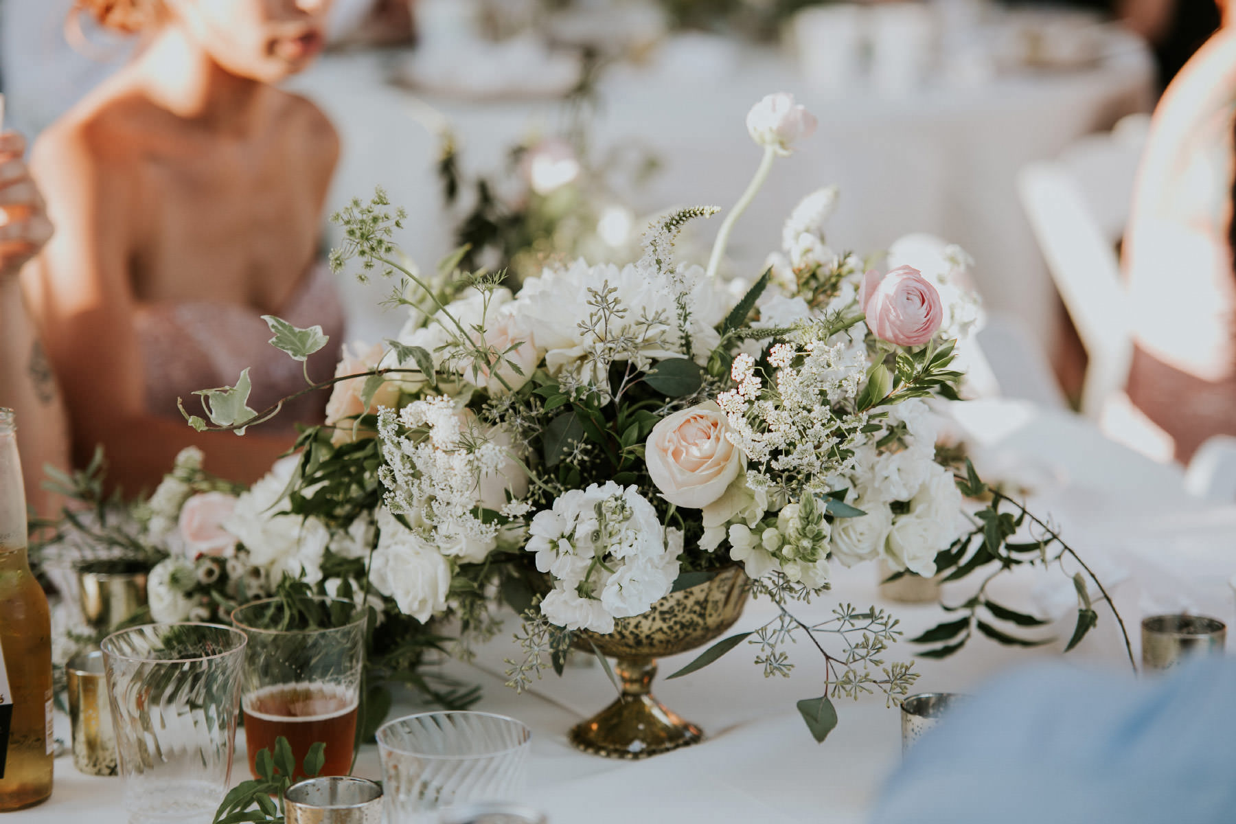 Centerpiece bouquet with white roses and greenery