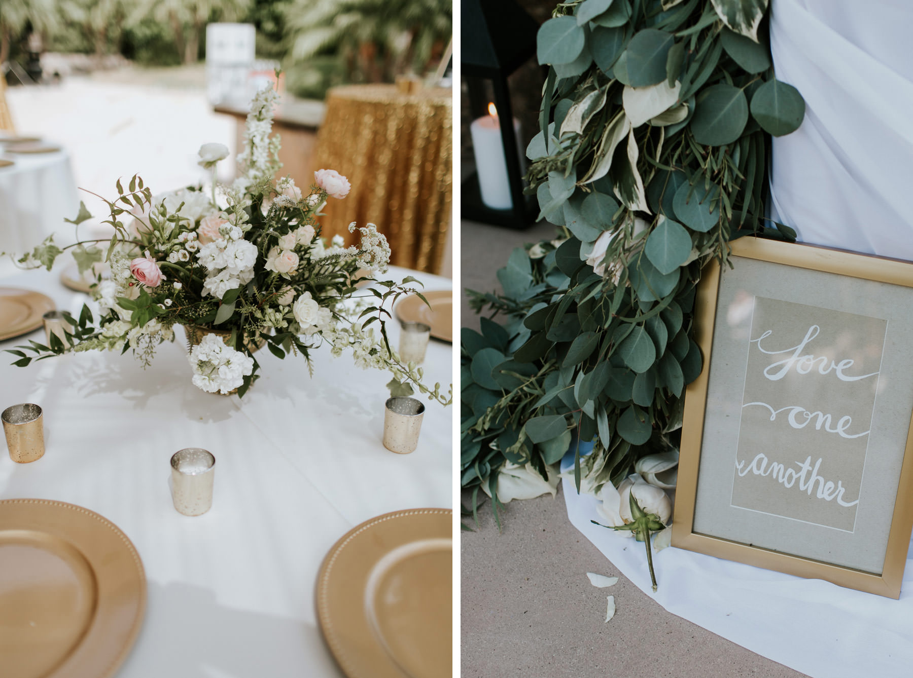 Eucalyptus table garland and gold chargers