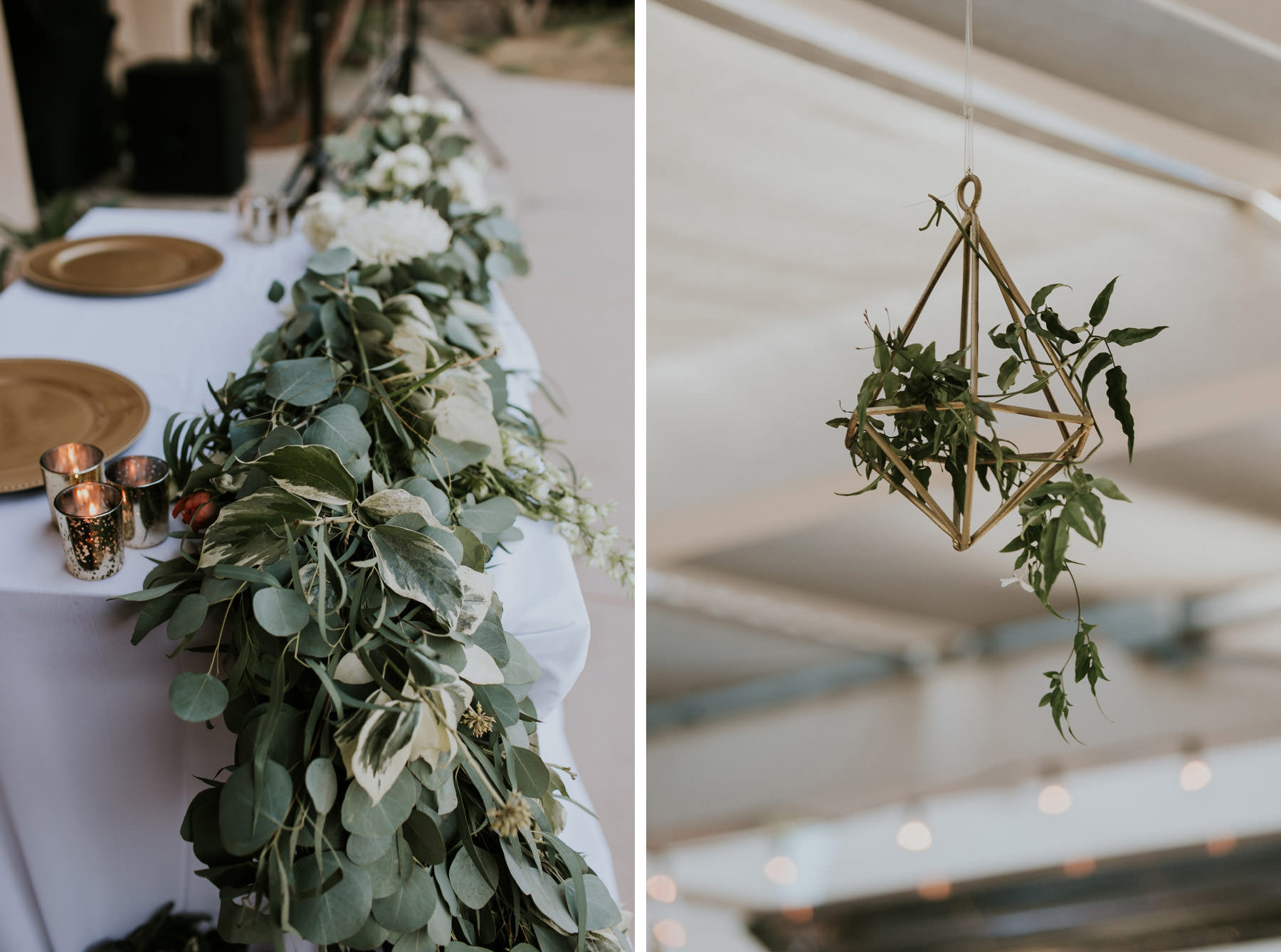 Eucalyptus table garland and geometric plant hanger
