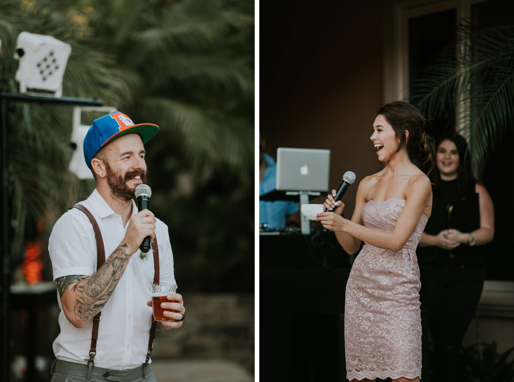 Bridal party giving speeches at San Diego backyard wedding