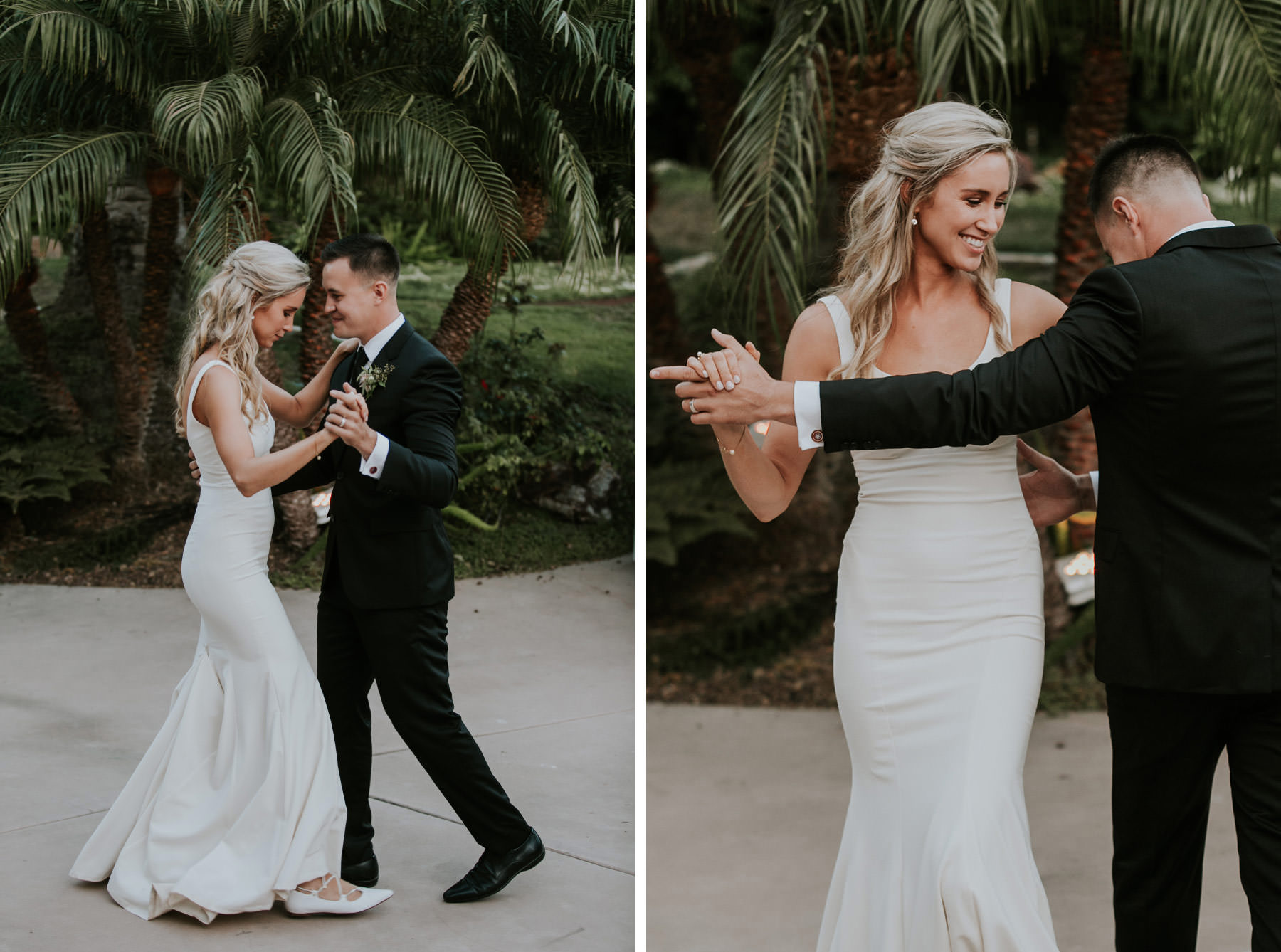 Bride and groom first dance at San Diego backyard wedding