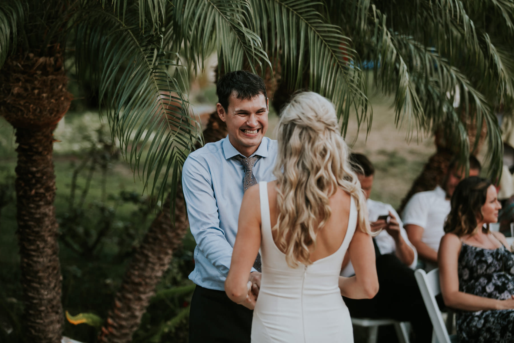 Father and daughter dancing at San Diego backyard wedding
