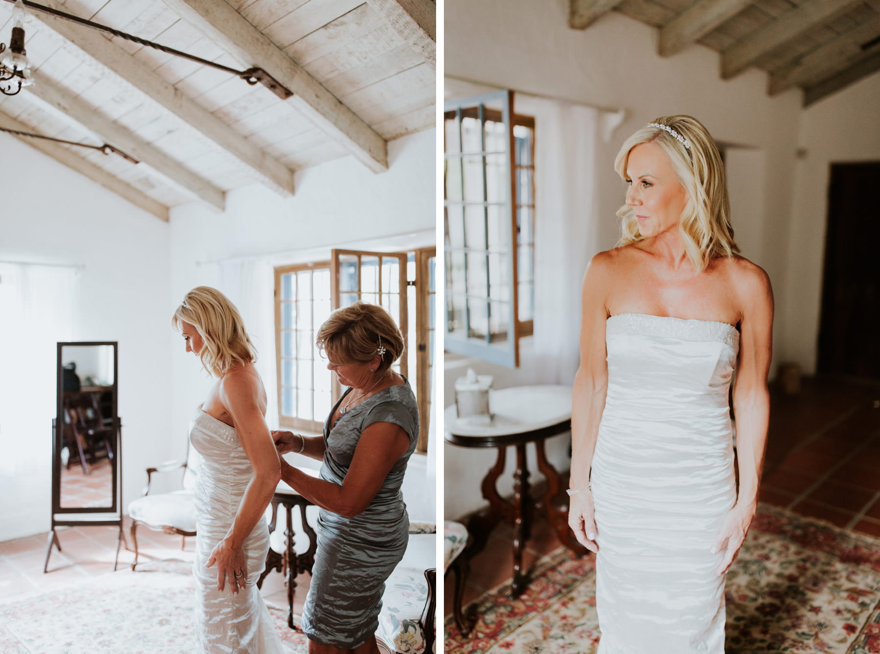 Bride getting into dress at Leo Carrillo Ranch