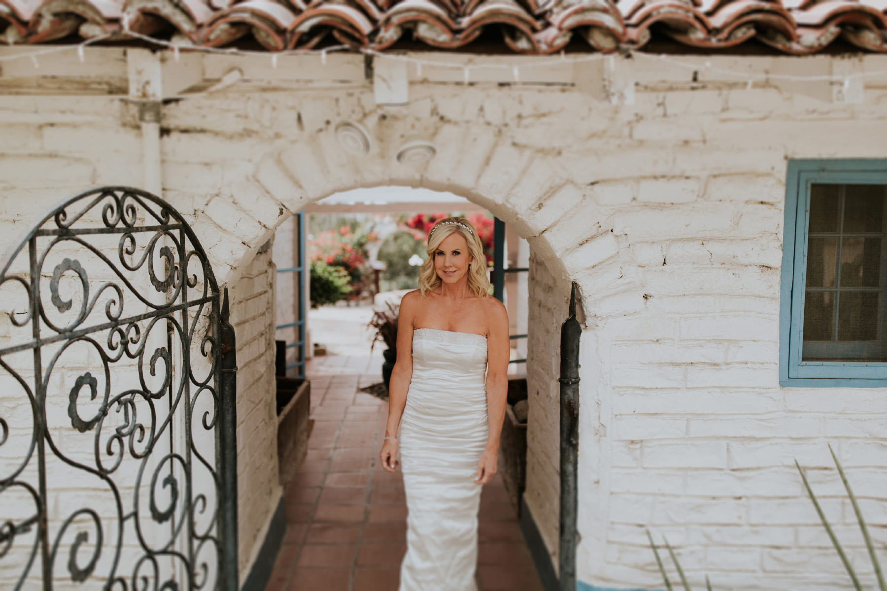 Bride approaching first look Leo Carrillo Ranch wedding