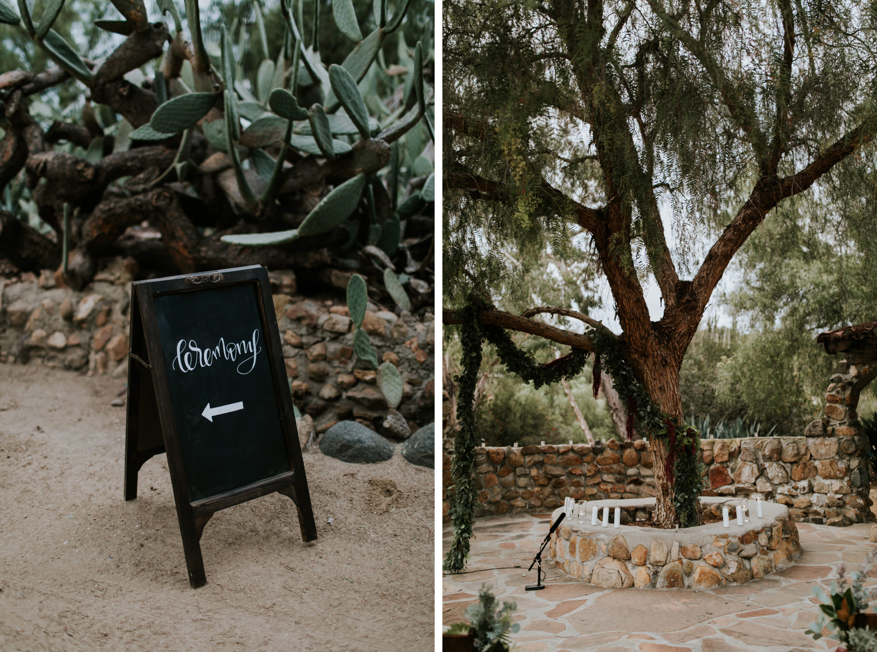 Ceremony sign and courtyard at Leo Carrillo Ranch