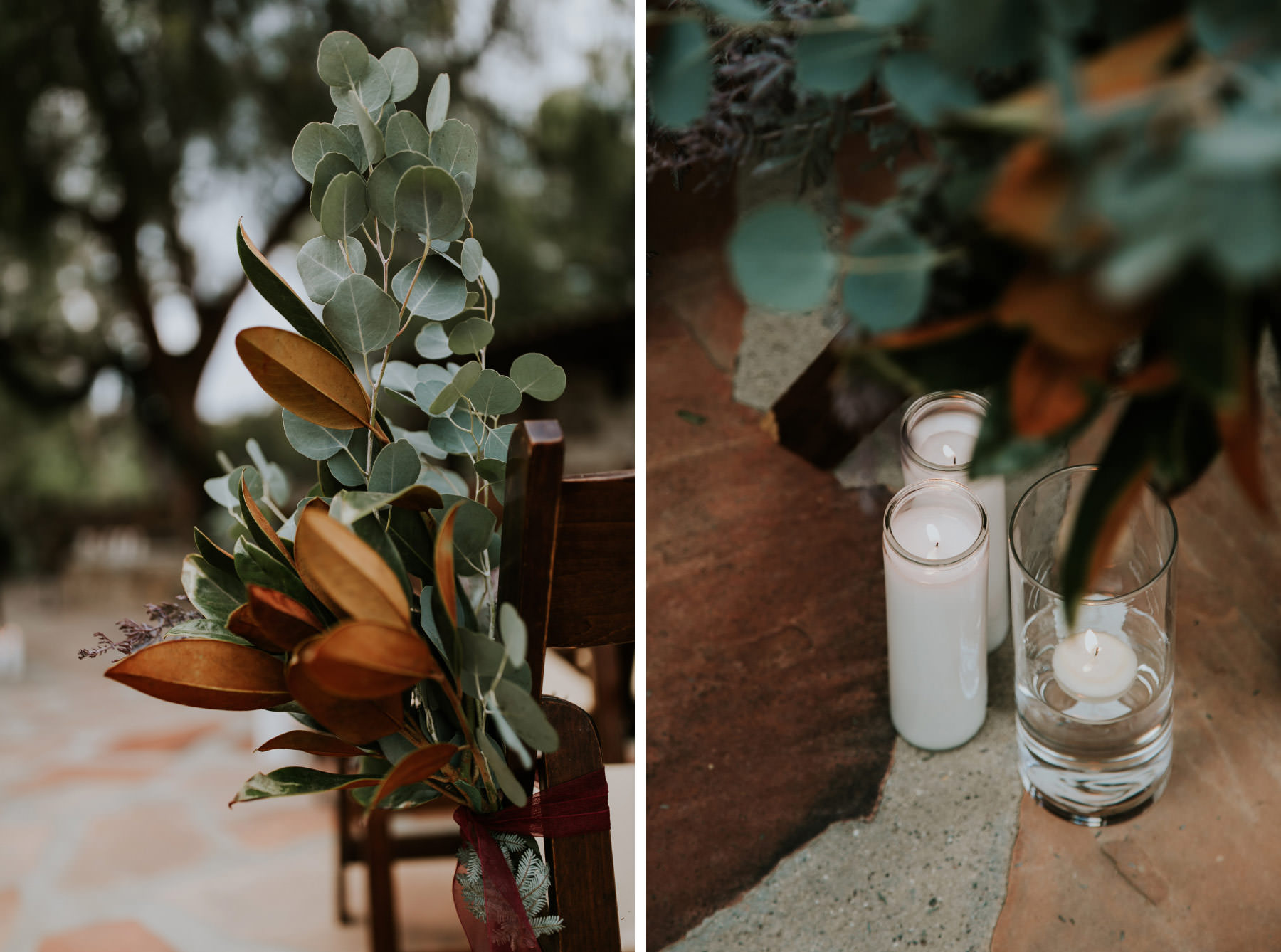 Magnolia leaves and eucalyptus tied to ceremony aisle chairs