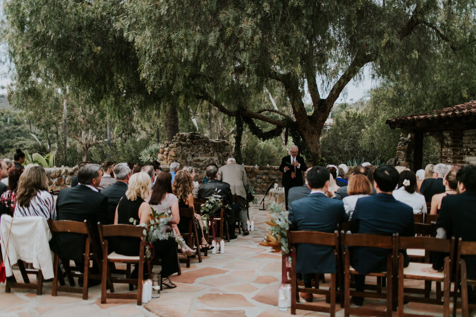 Guests witnessing ceremony at Leo Carrillo Ranch wedding
