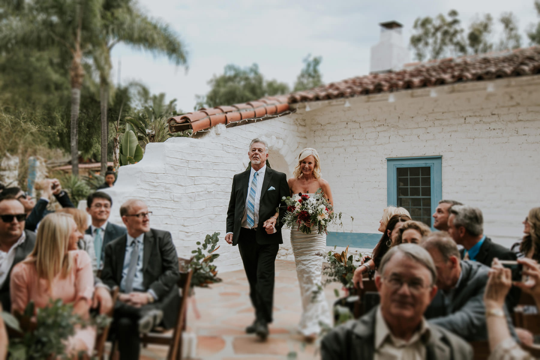 Bride walking down the aisle at Leo Carrillo Ranch wedding