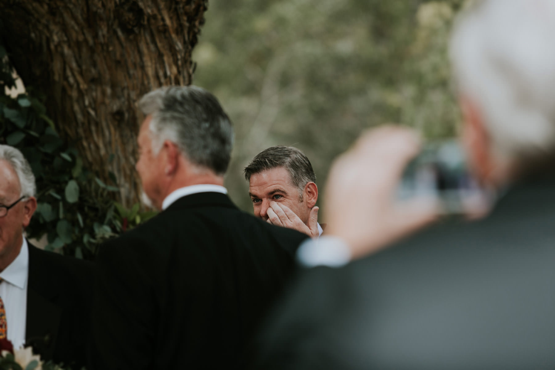 Groom crying during ceremony at Leo Carrillo Ranch wedding