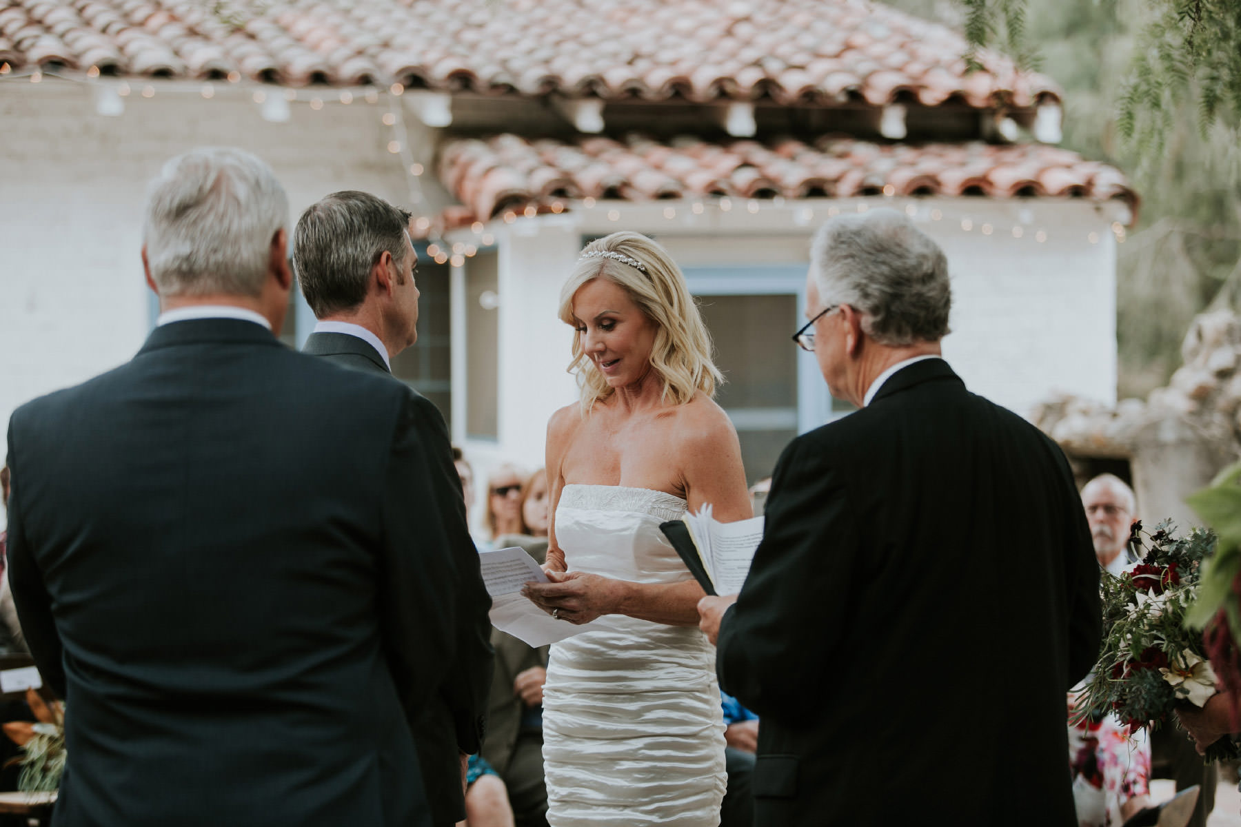 Bride reading her vows at Leo Carrillo Ranch wedding