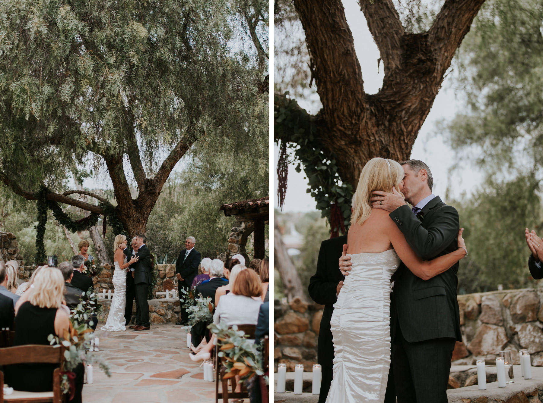 Bride and groom first kiss at Leo Carrillo Ranch wedding
