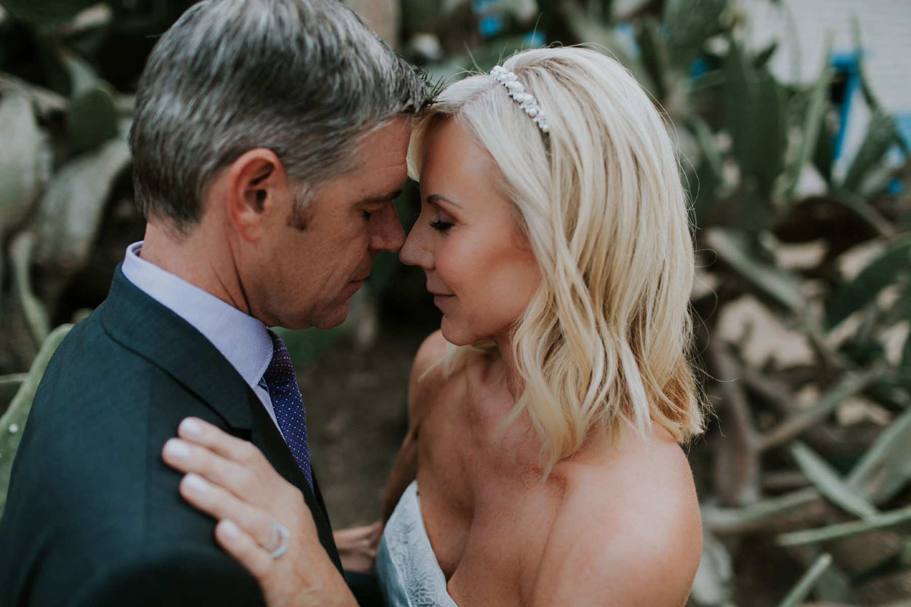 Intimate portrait of bride and groom at Leo Carrillo Ranch