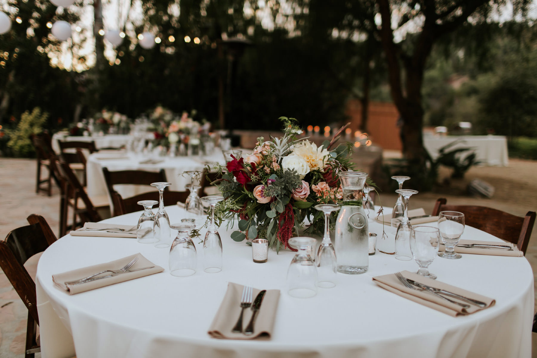 Reception table at Leo Carrillo Ranch wedding