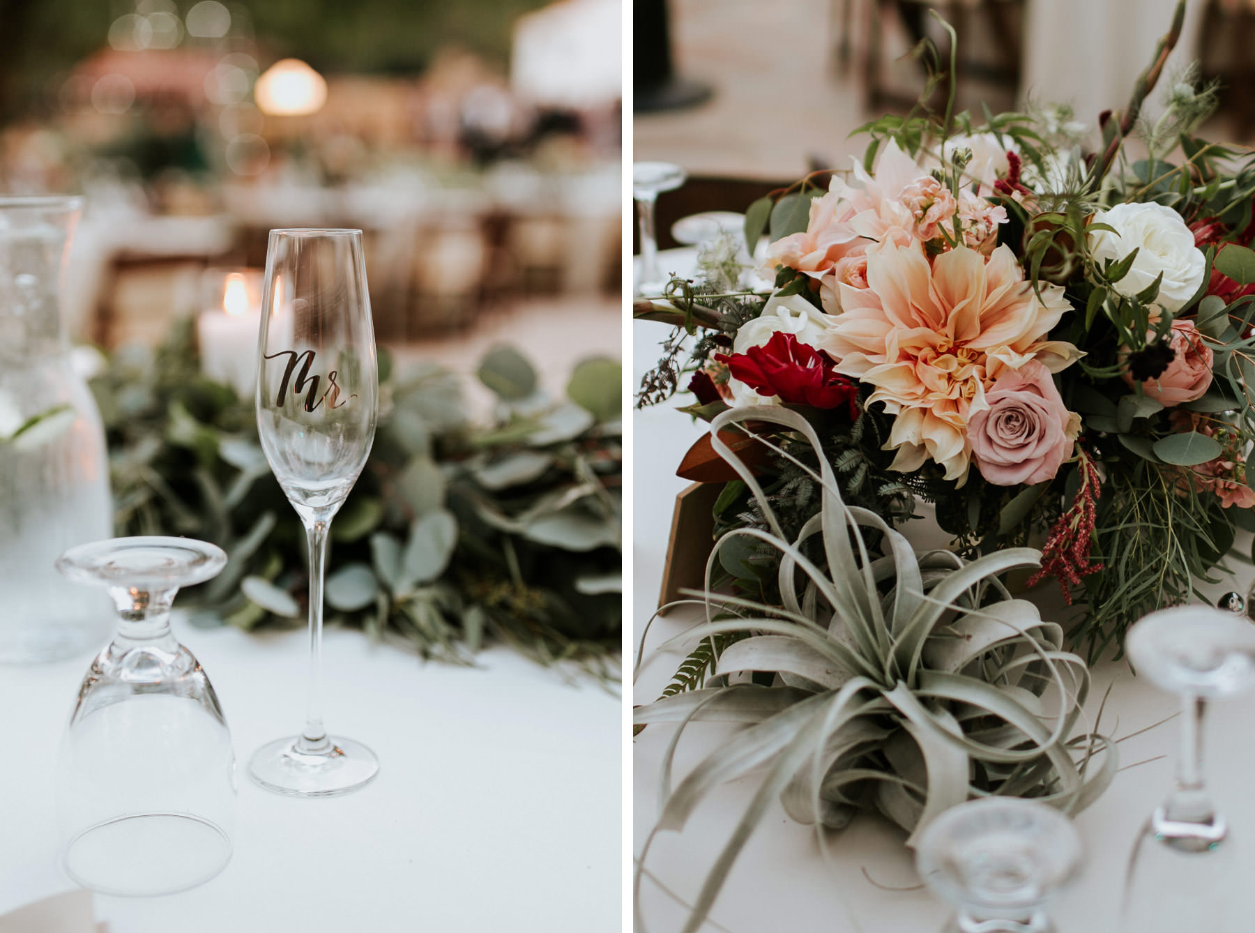 Airplants and dahlias table bouquet Leo Carrillo Ranch wedding