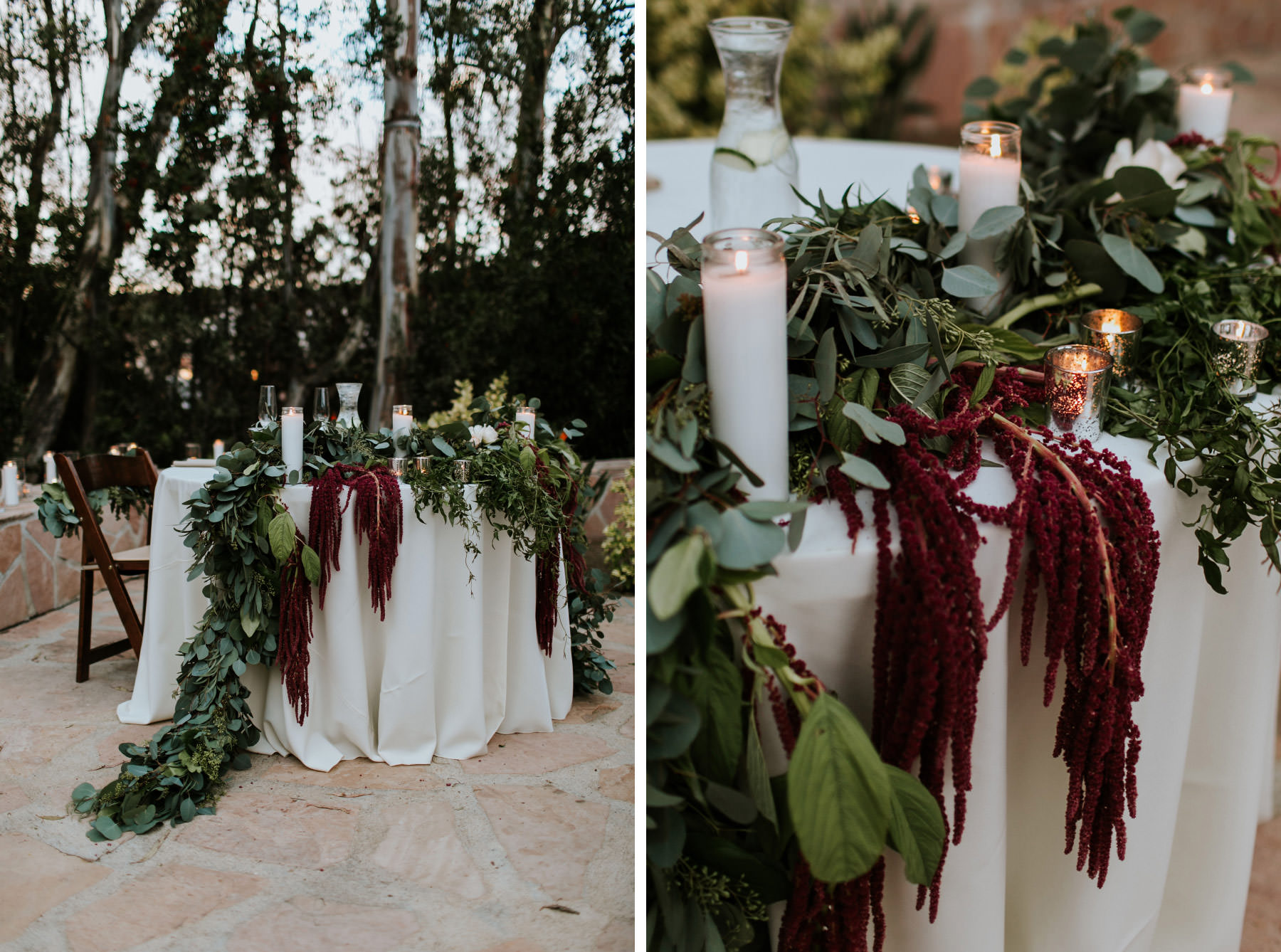 Cascading sweetheart table with eucalyptus runner and love lies bleeding flowers
