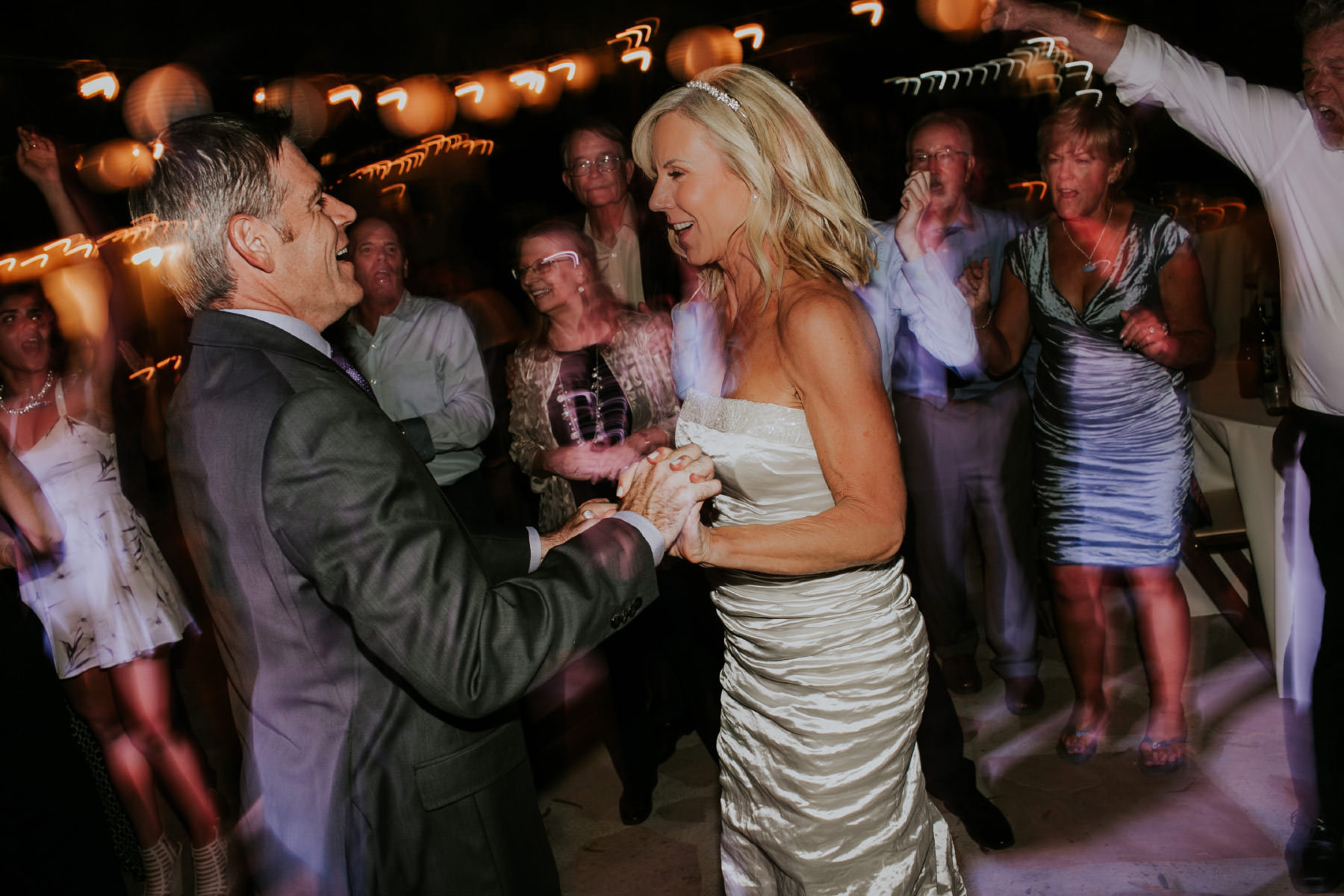 Slow shutter speed bride and groom dancing