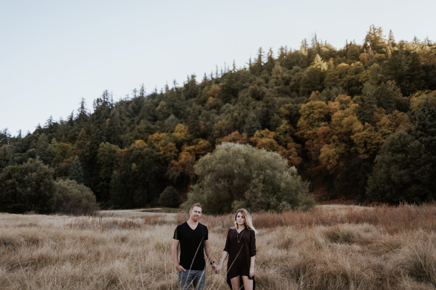 Couple holding hands in a forest meadow on Palomar Mountain