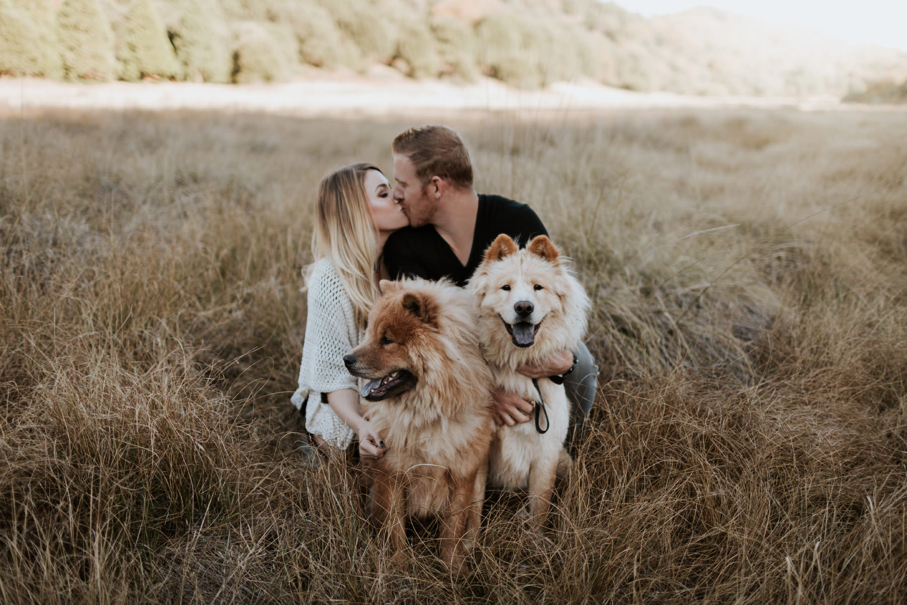 Couple kissing at Palomar Mountain with two Chow Chow dogs