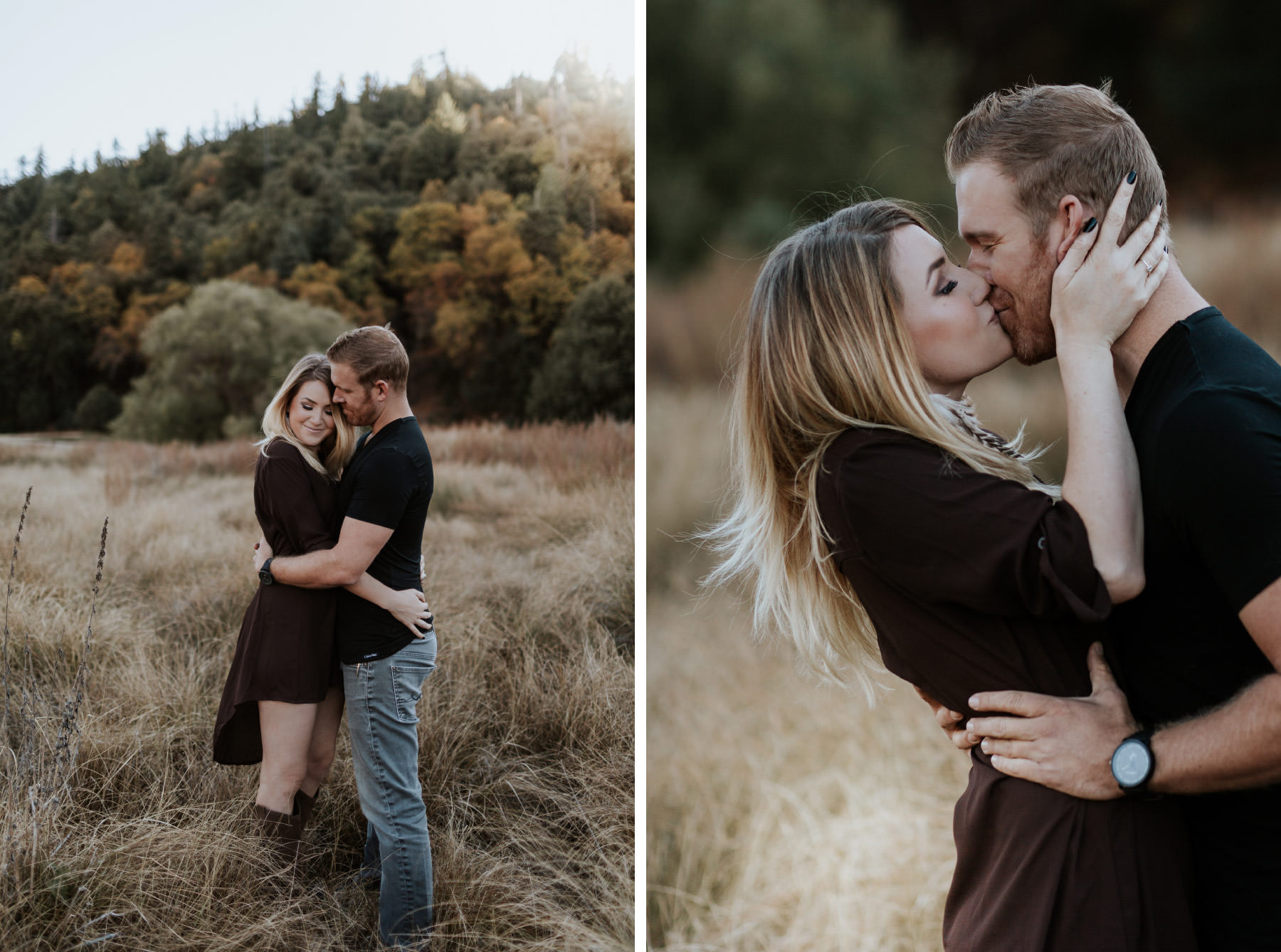 Couple kissing at Palomar Mountain with fall colored trees in the background