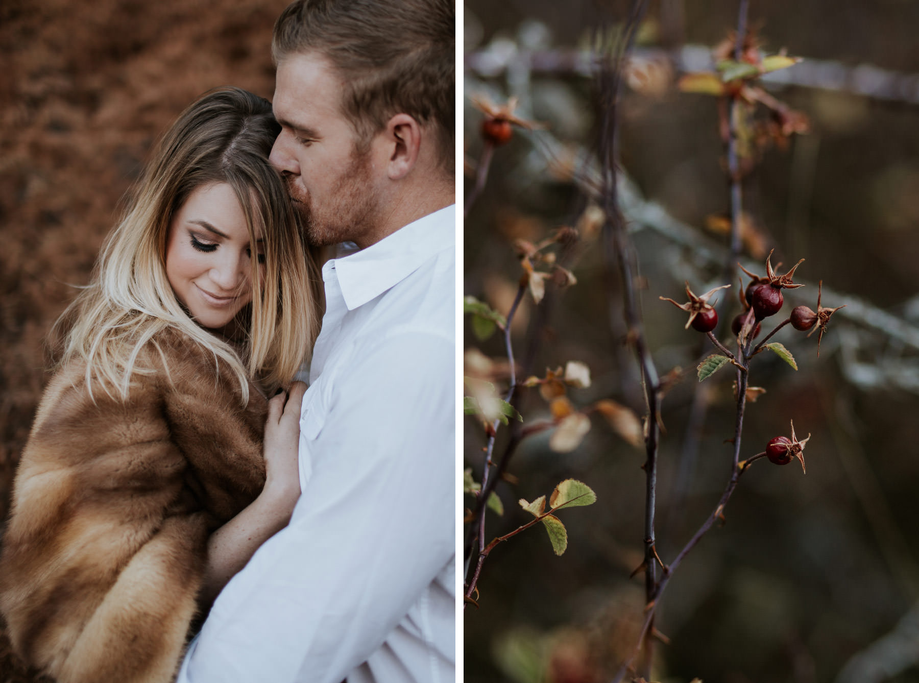 Couple wearing vintage fur stole at Palomar Mountain engagement