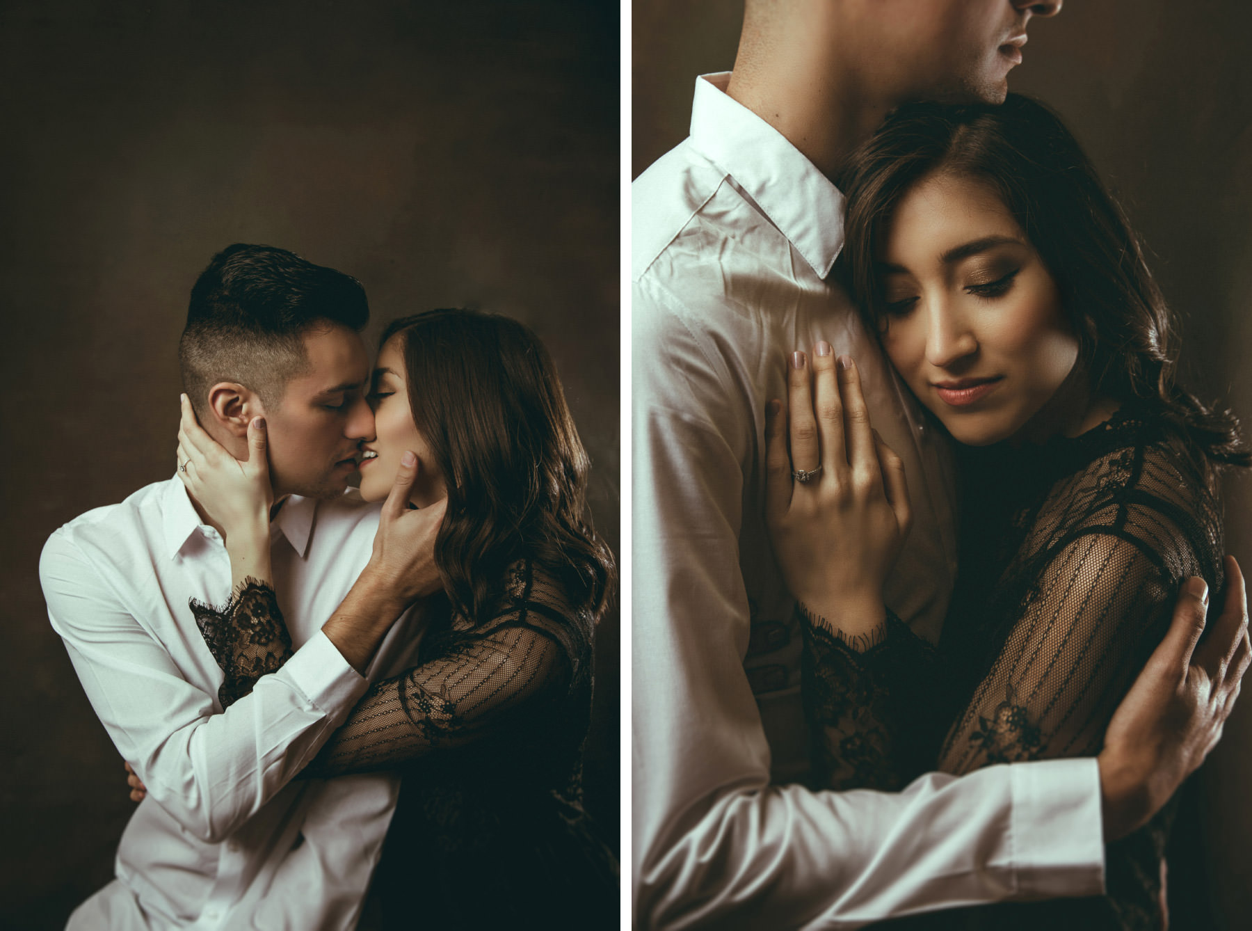 Fashionable couple kissing against dark studio backdrop
