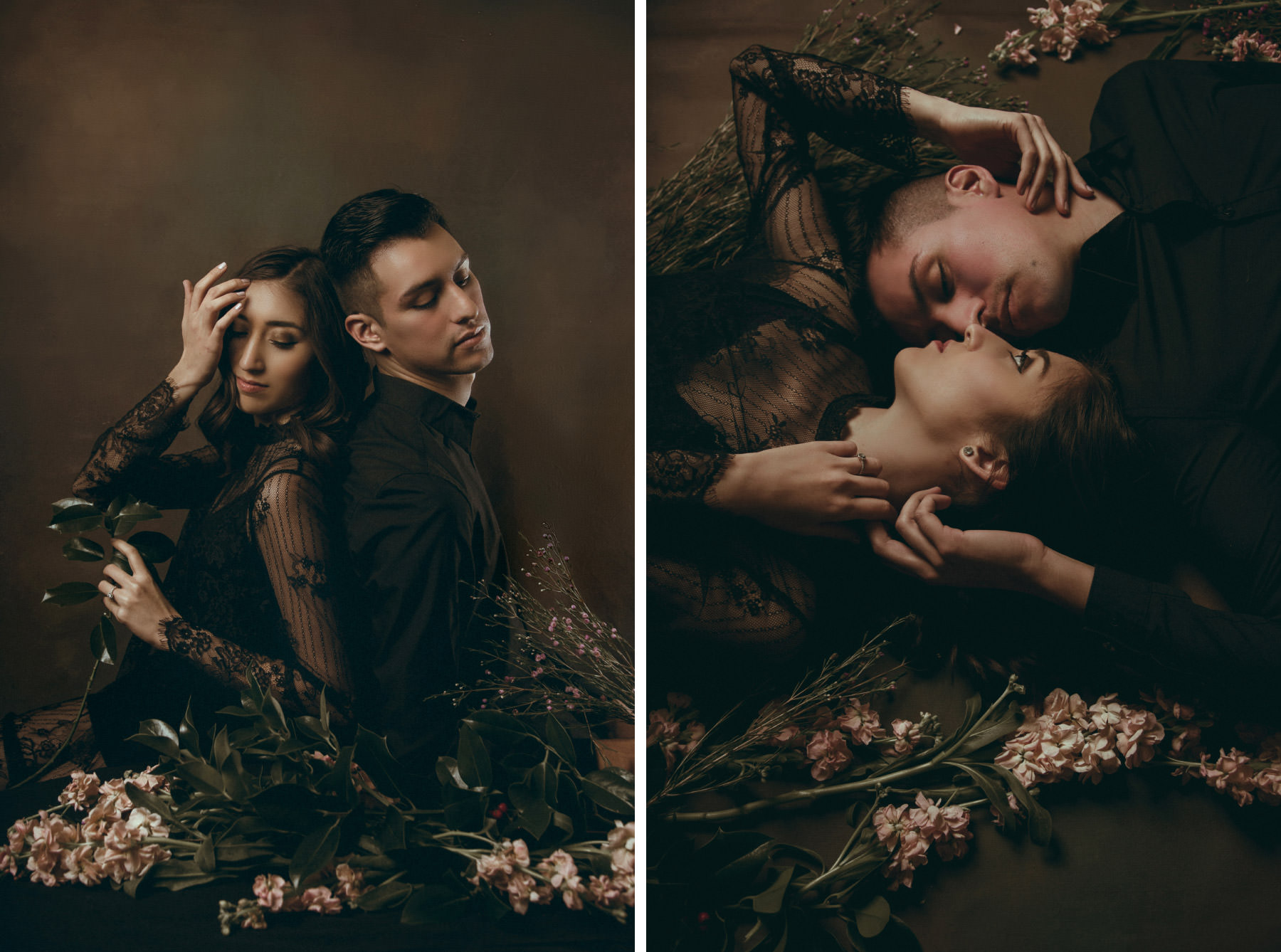 Dark and moody editorial of fashionable couple posing with flowers