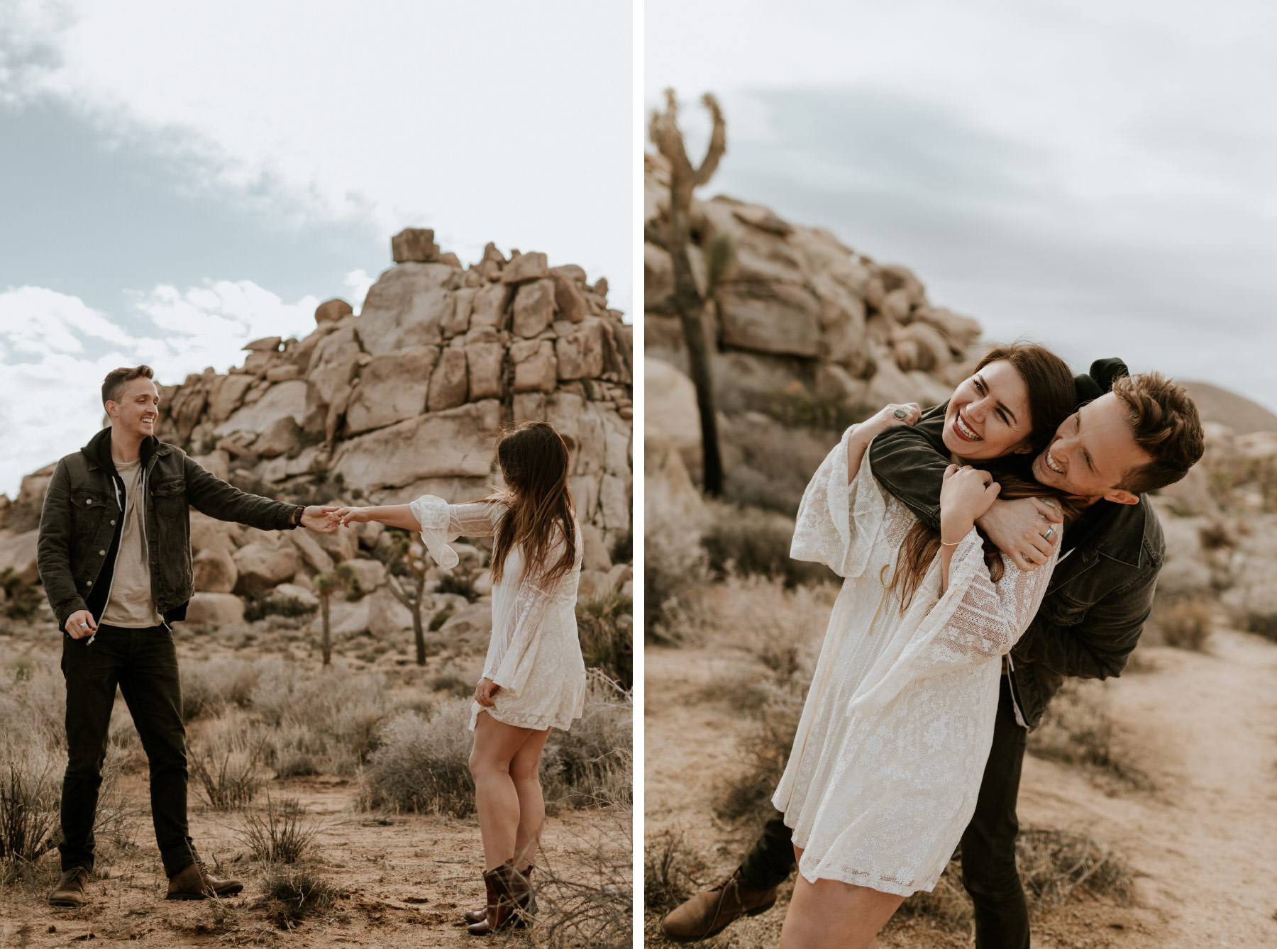 Couple playfully hug and dance at Joshua Tree