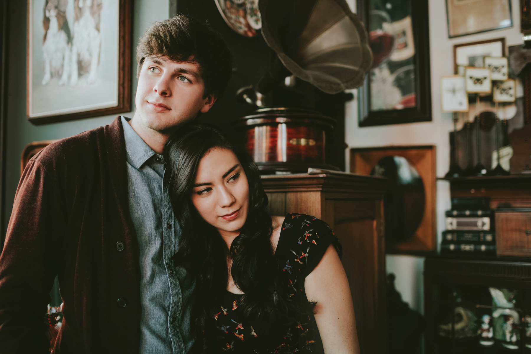 Coffee shop and antique store engagement session at Cafe Bassan in San Diego