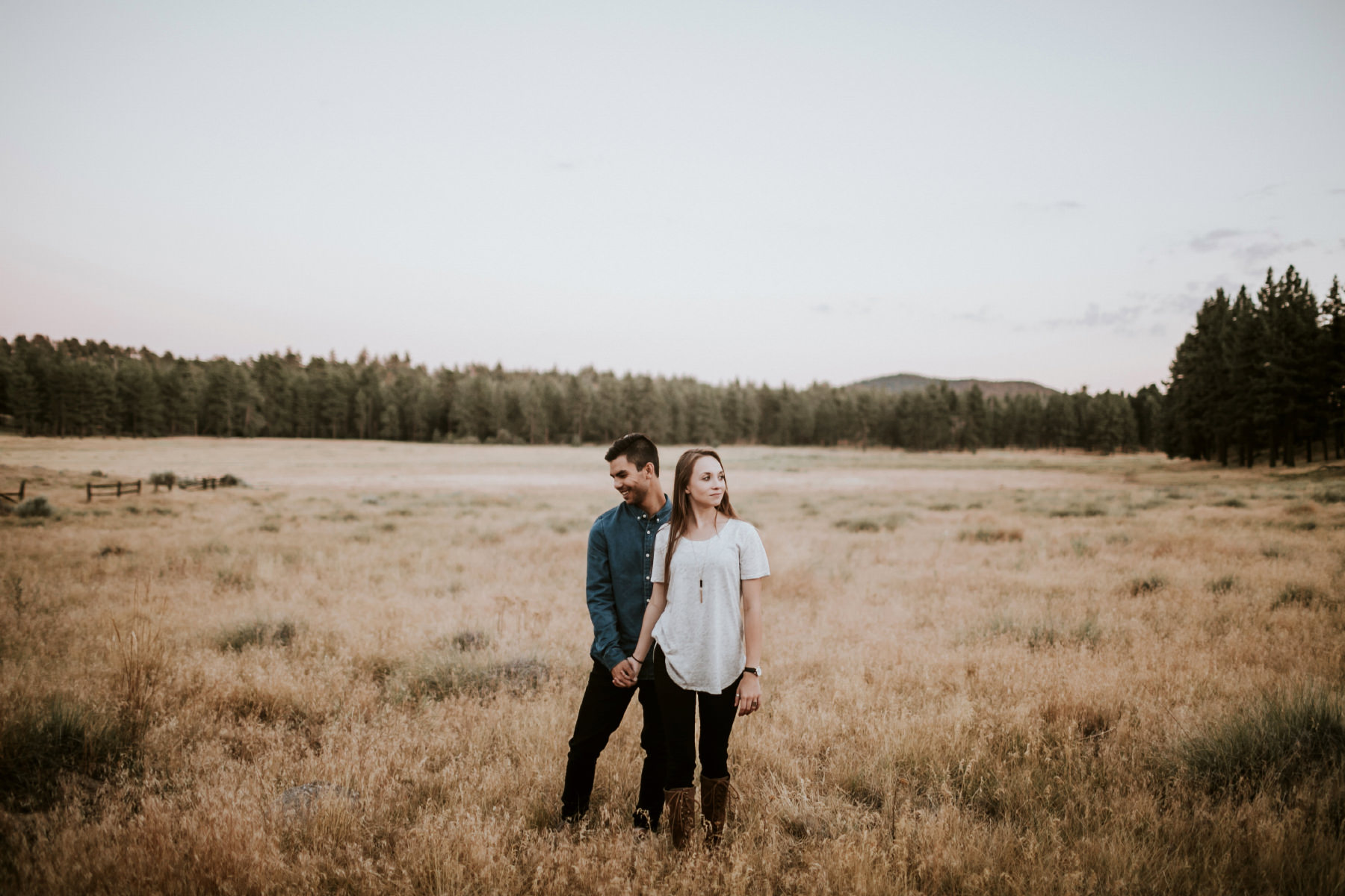 Engaged couple in a golden wooded field at Mount Laguna in San Diego