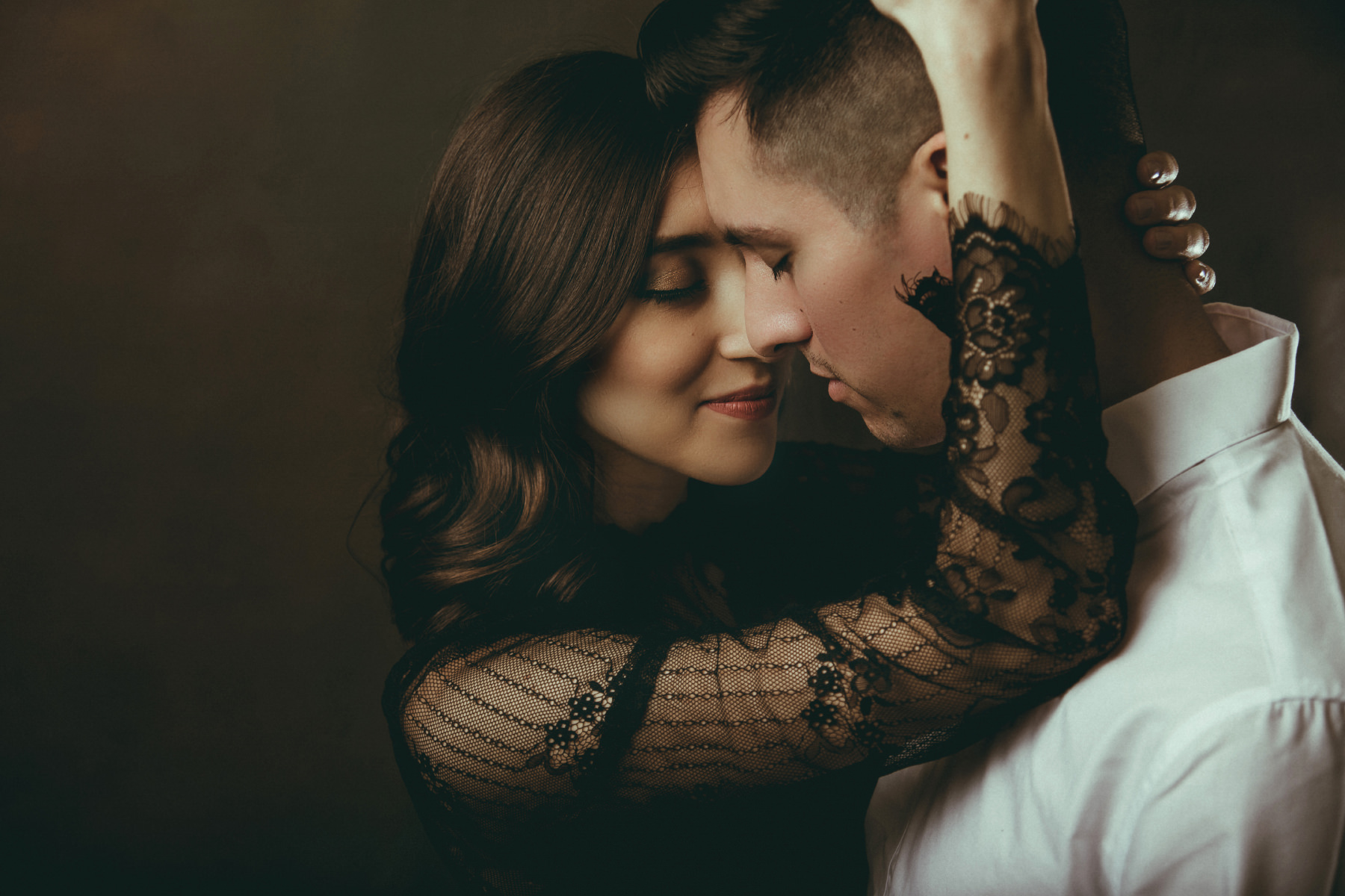 Editorial style engagement session with studio lighting