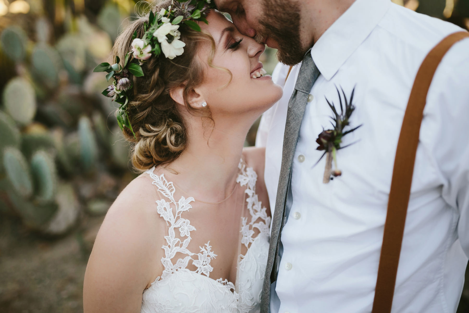 Intimate bride and groom portrait at Balboa Cactus Garden