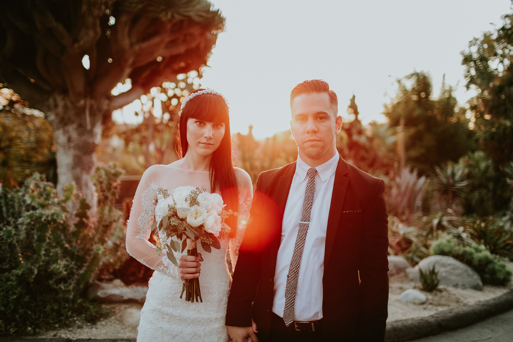 Bride and groom at golden hour at San Diego Botanic Garden