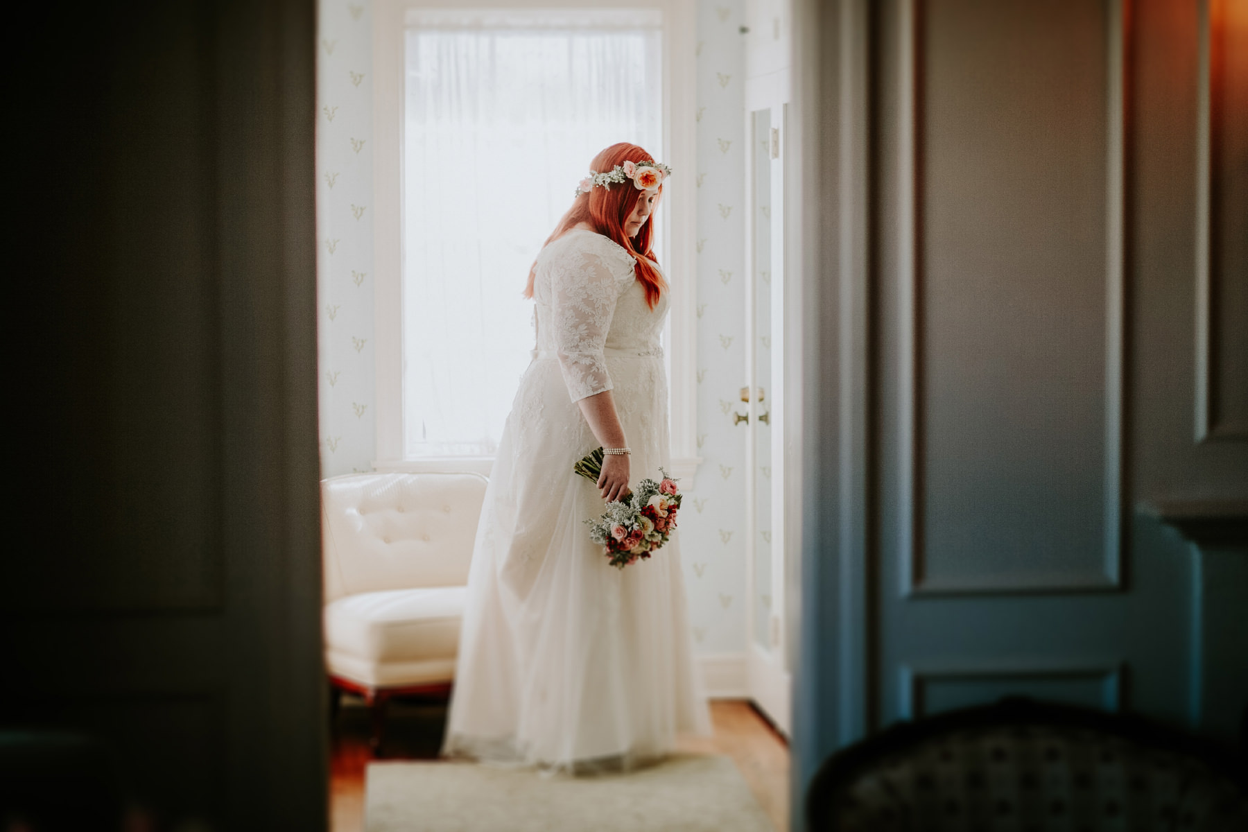 Intimate moment of bride getting ready at the Darlington House in San Diego