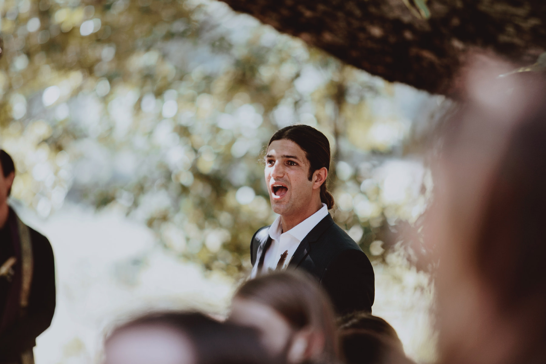 Grooms shocked reaction seeing his bride come down the aisle at Baileys Palomar Resort
