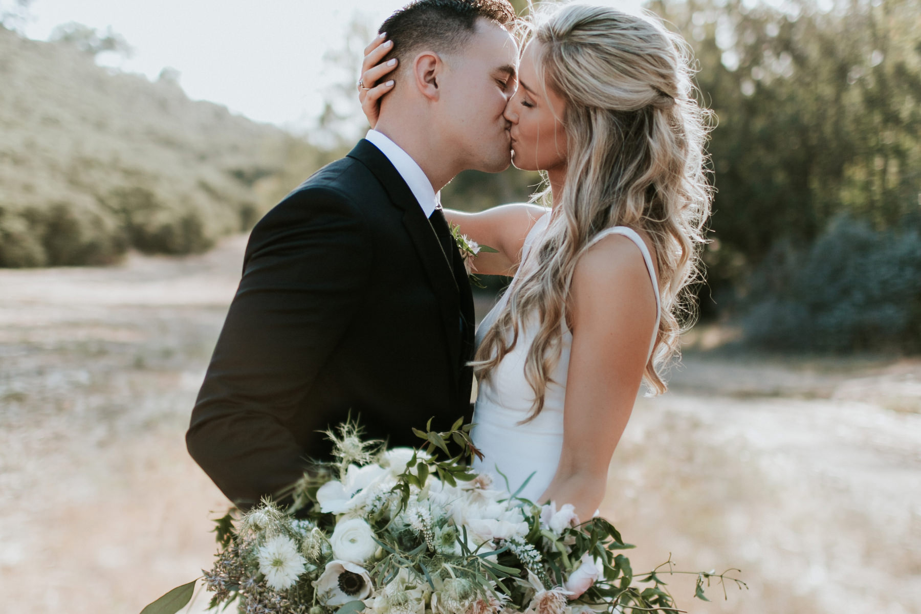 Editorial bride and groom romantics in Rancho Sante Fe