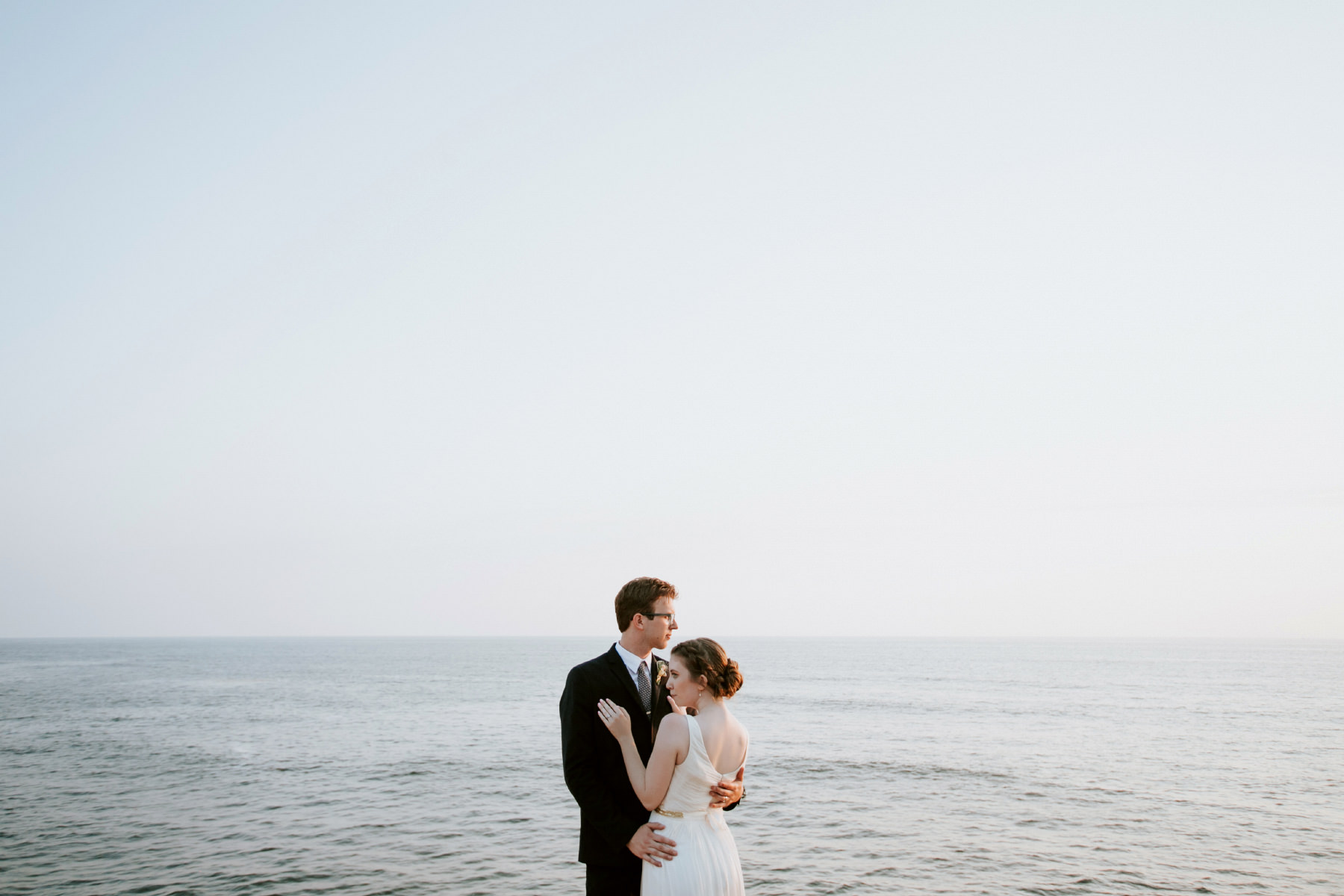 Bride and groom portraits at Sunset Cliffs in San Diego