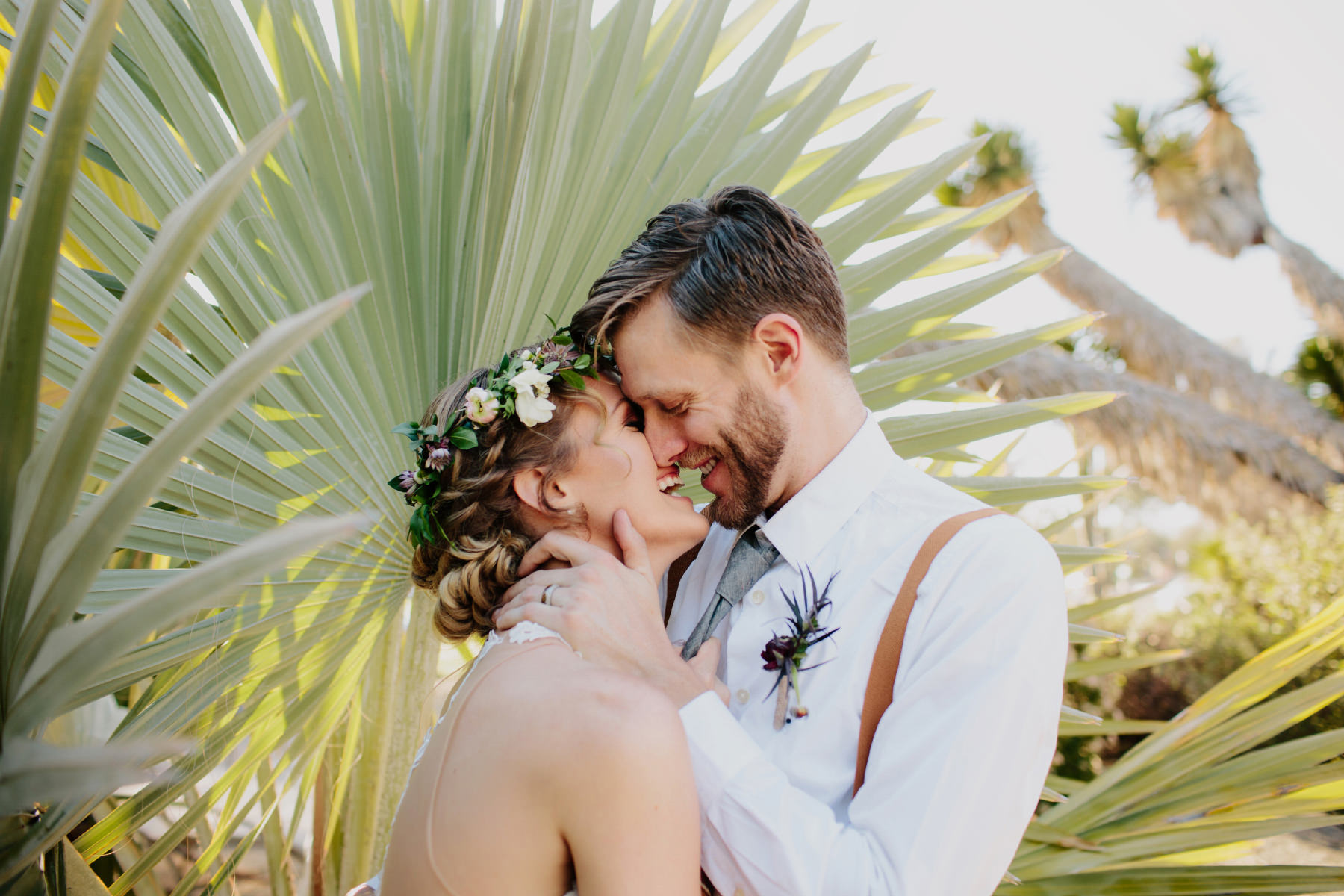 Bride and groom portraits at Balboa Park cactus garden