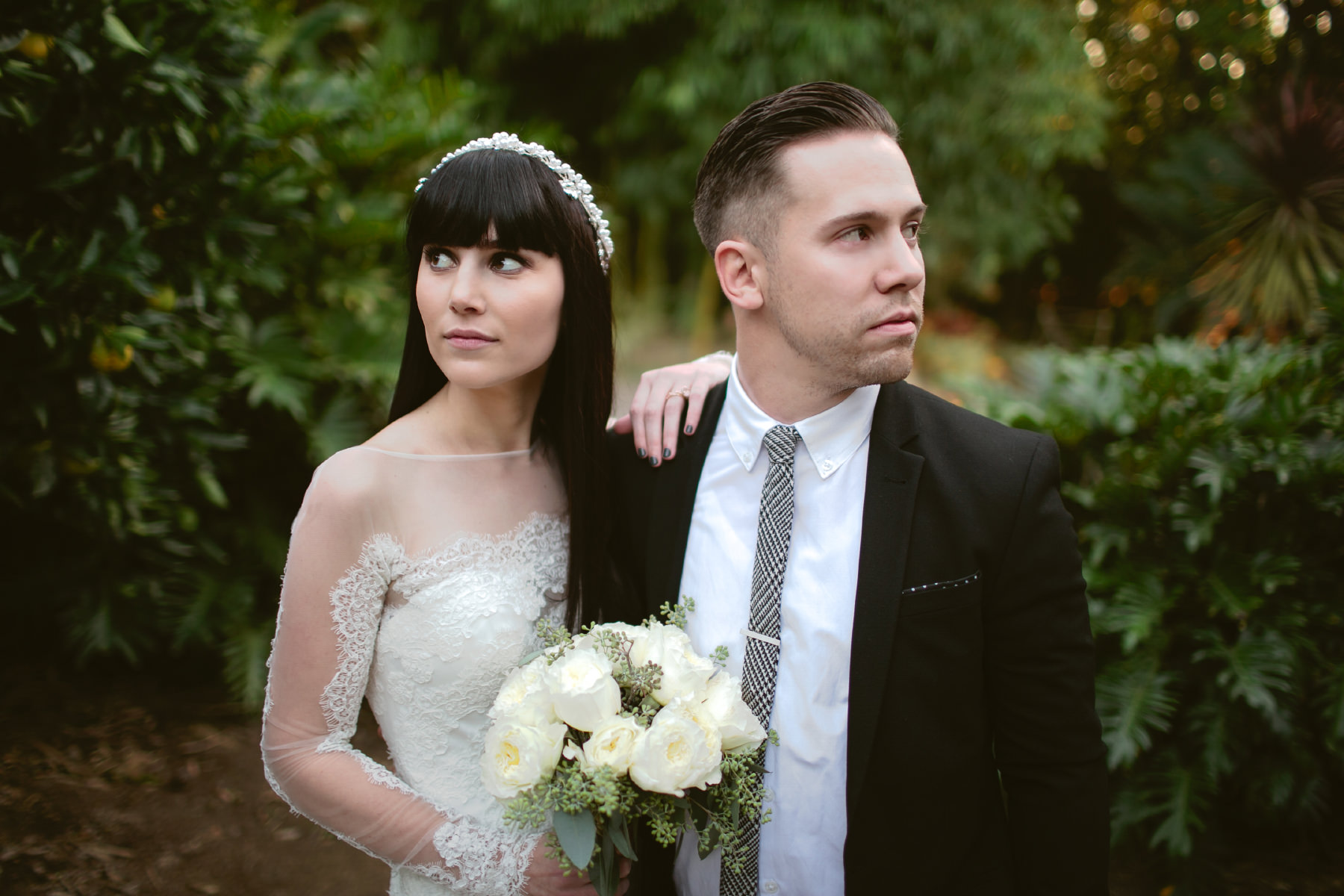 Bride and groom portraits at San Diego Botanic Garden