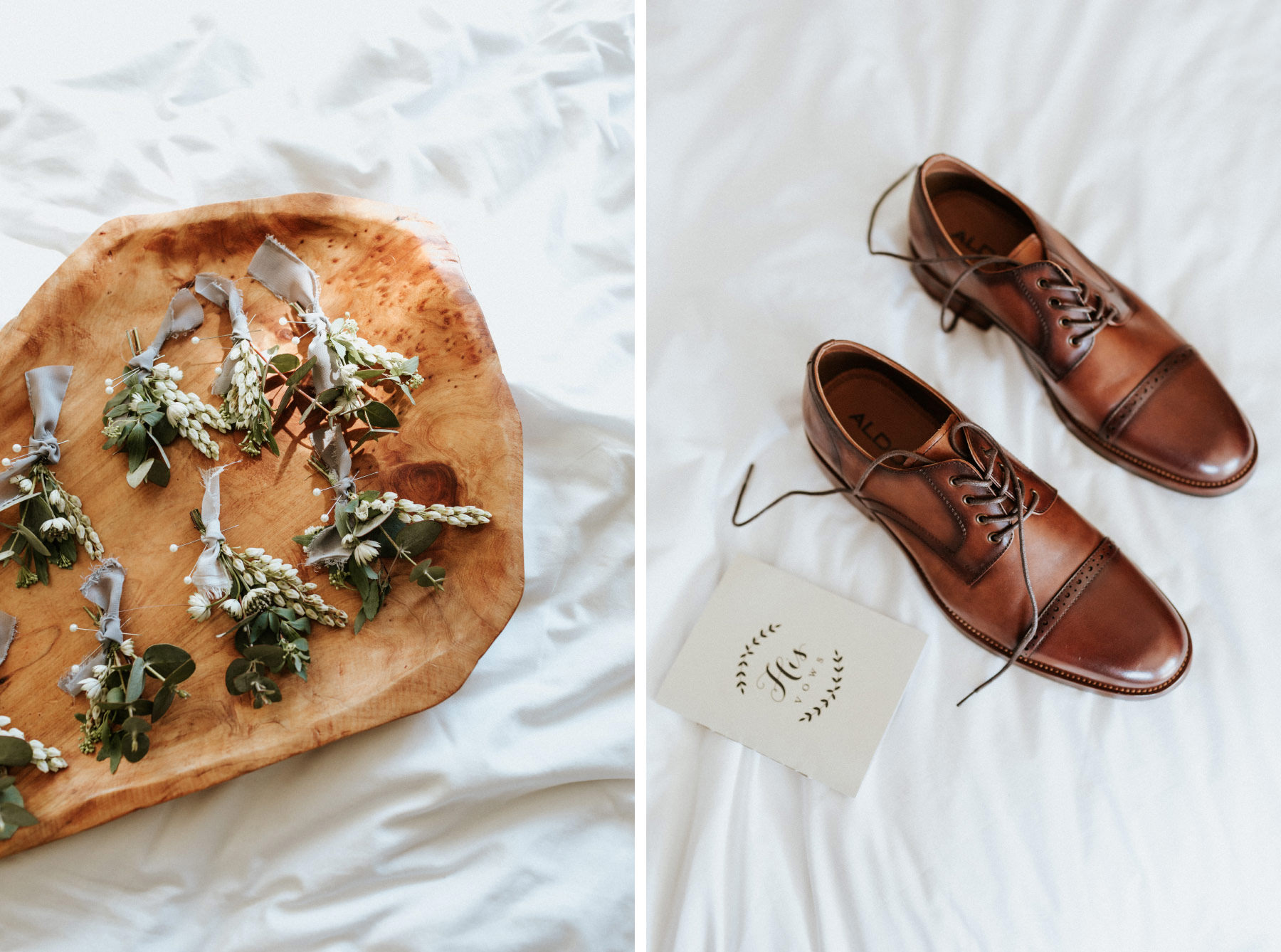 Boutonniere and grooms leather shoes