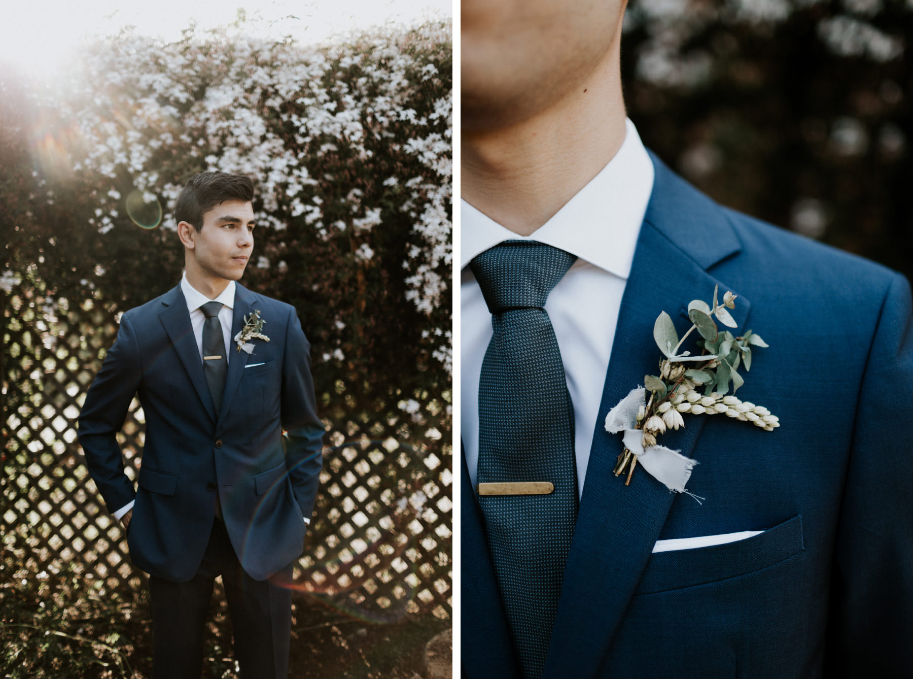 Groom in a navy suit with simple greenery boutonniere