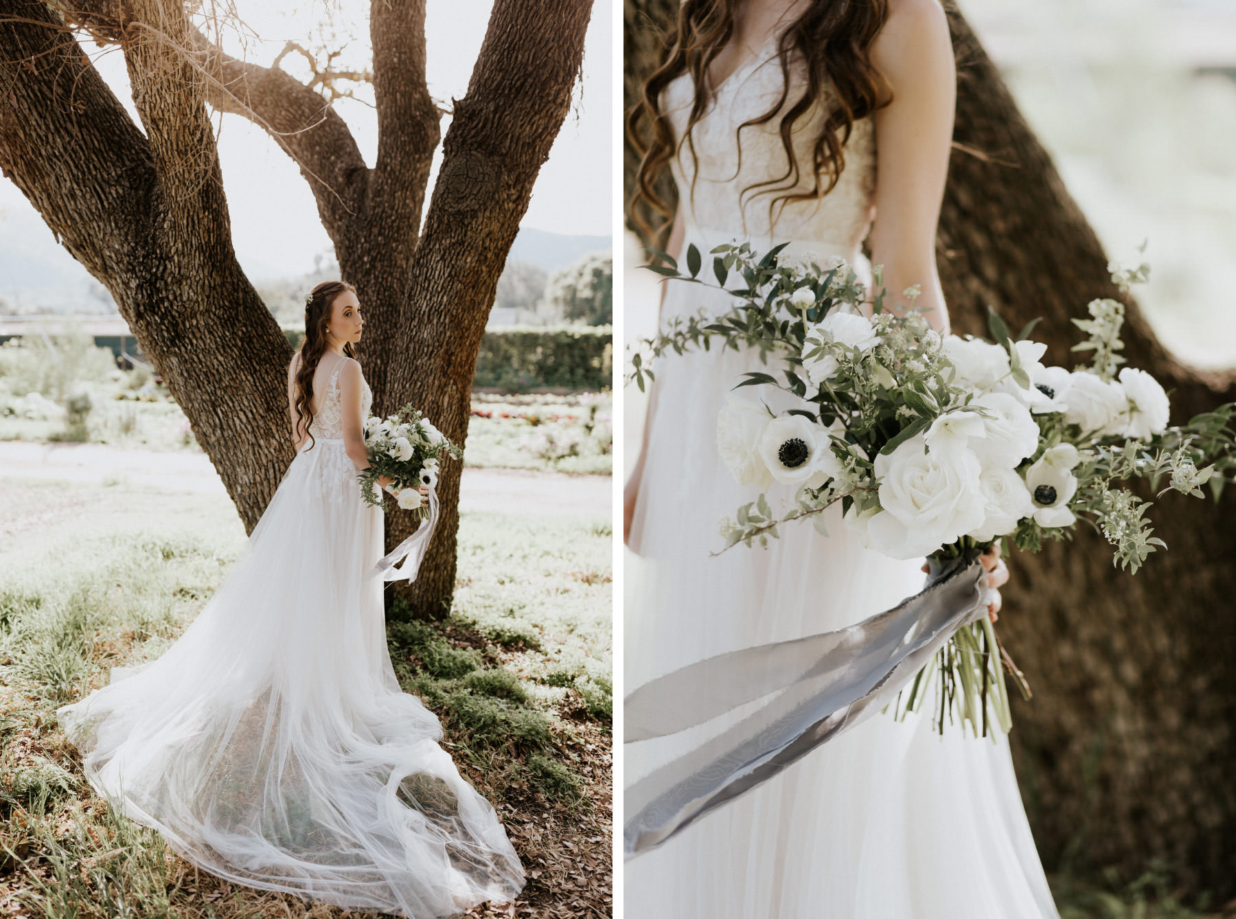 BHLDN dress with cascading bouquet of white roses and anemone flowers