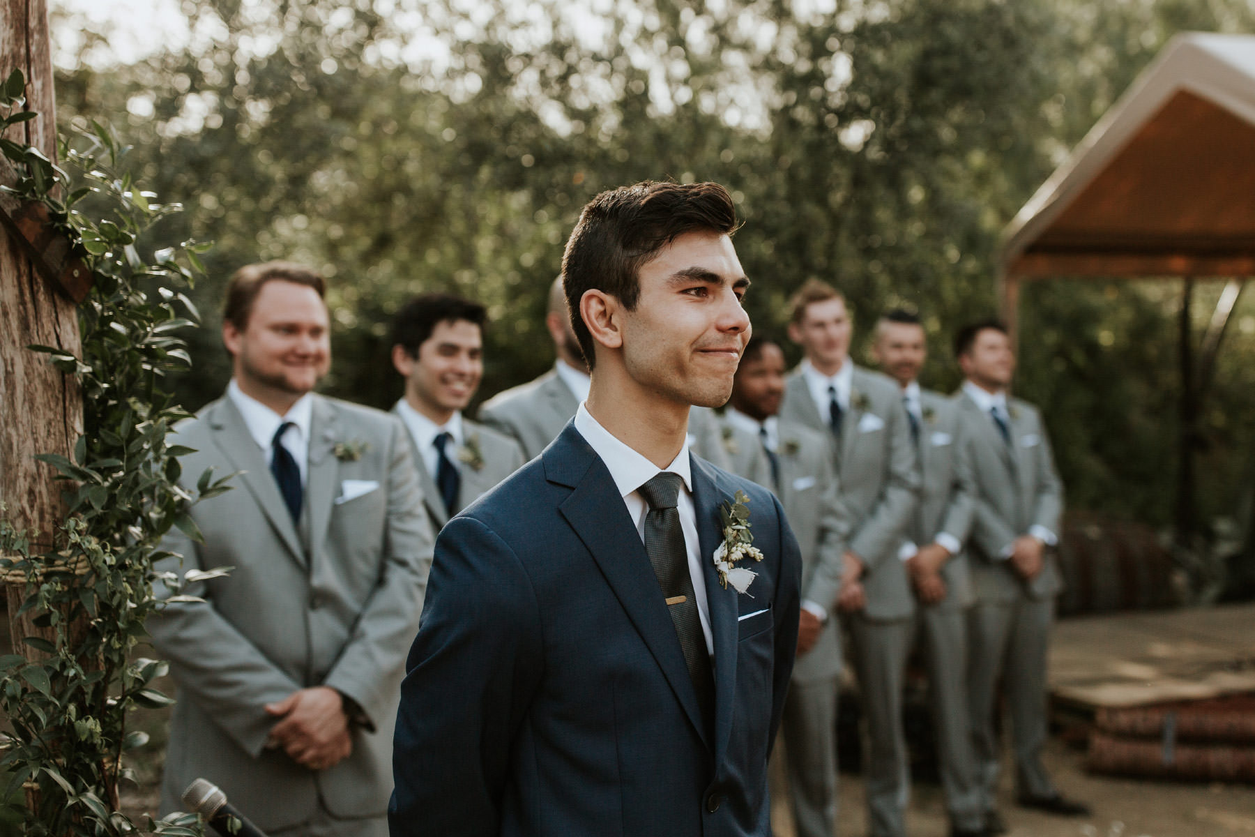 Groom reaction to his bride