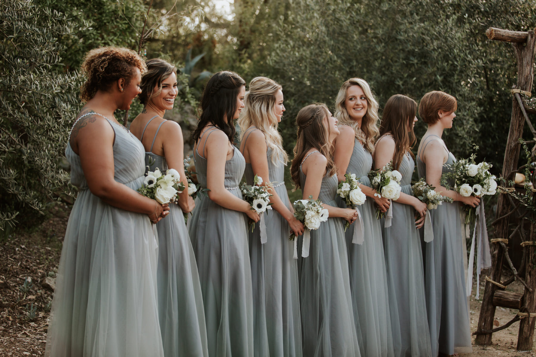 Long dusty blue bridesmaids dresses